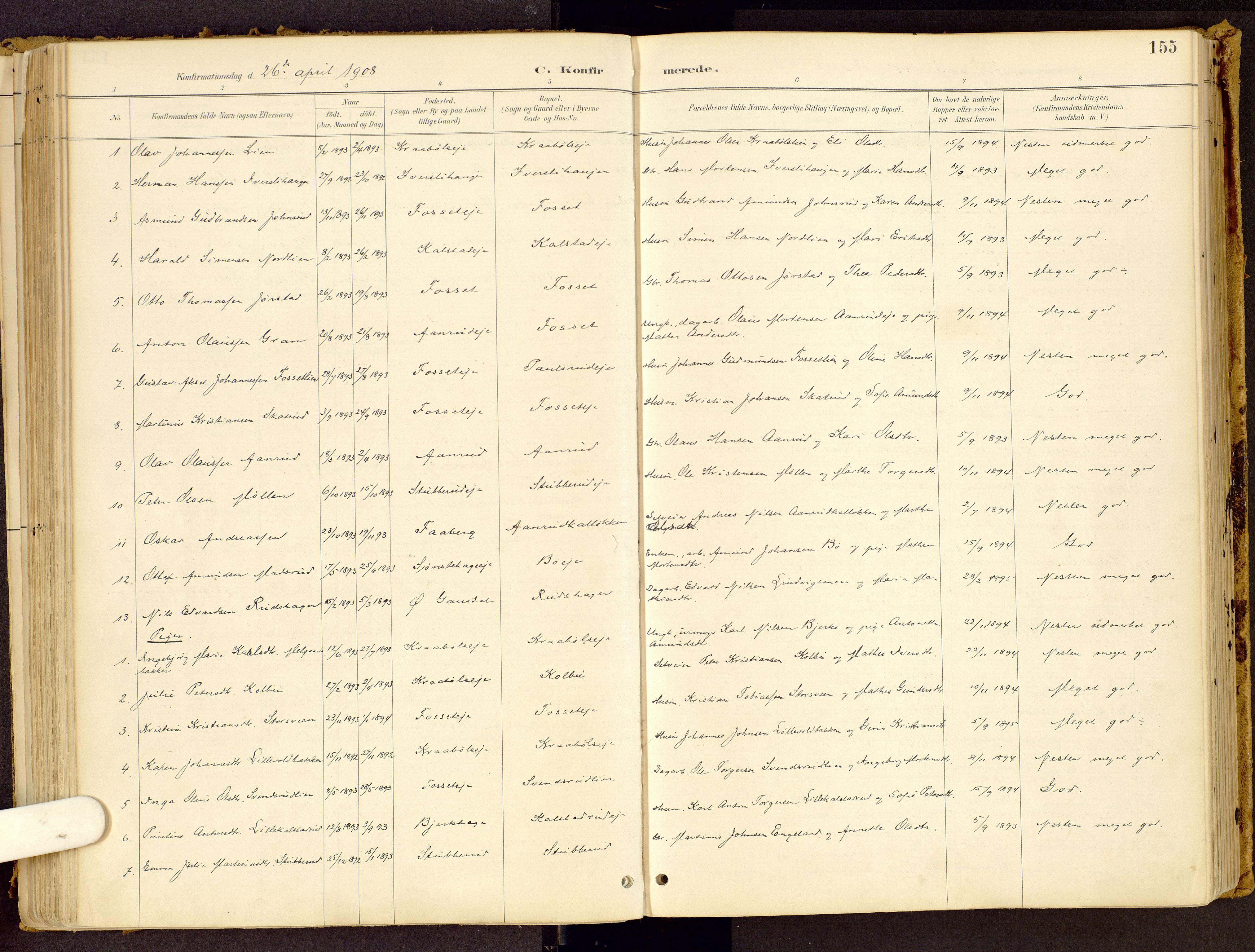 SAH, Vestre Gausdal prestekontor, Ministerialbok nr. 1, 1887-1914, s. 155
