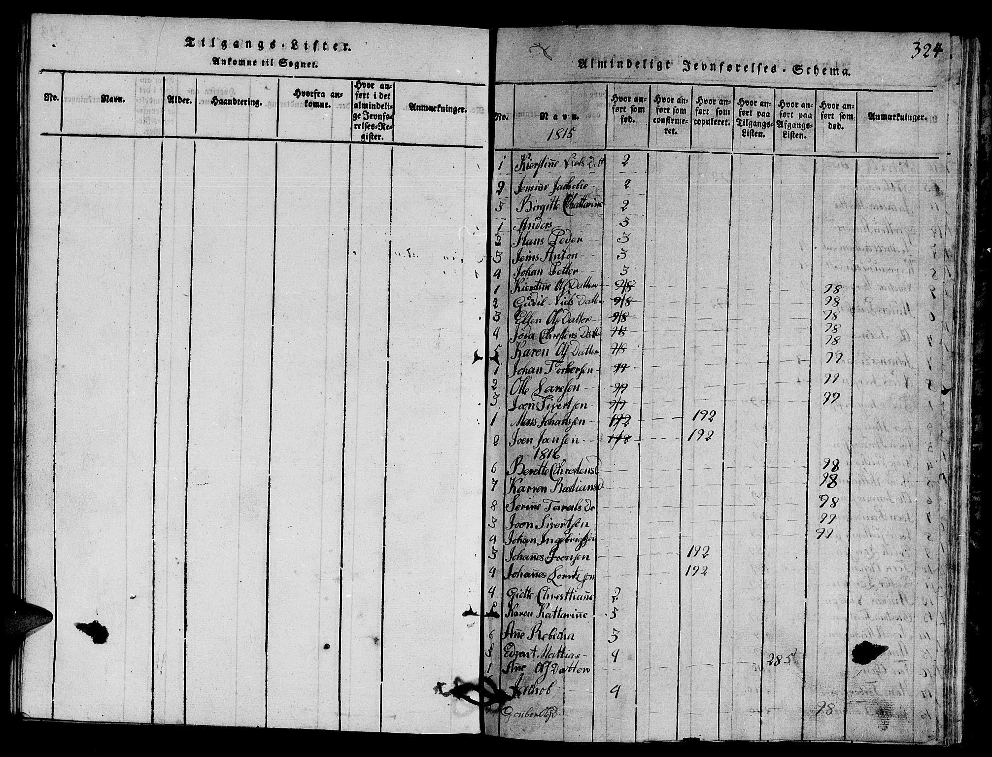 SAT, Ministerialprotokoller, klokkerbøker og fødselsregistre - Nord-Trøndelag, 770/L0590: Klokkerbok nr. 770C01, 1815-1824, s. 324