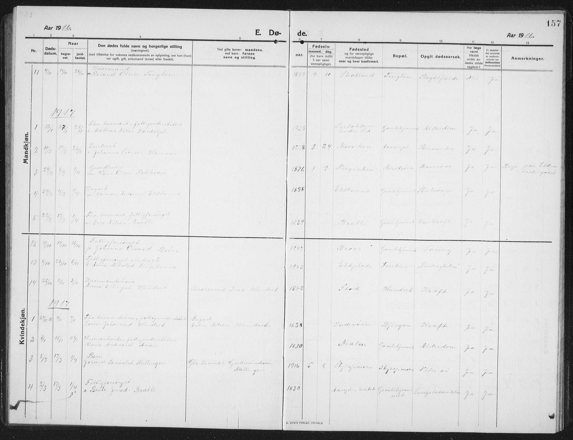 SAT, Ministerialprotokoller, klokkerbøker og fødselsregistre - Nord-Trøndelag, 742/L0413: Klokkerbok nr. 742C04, 1911-1938, s. 157