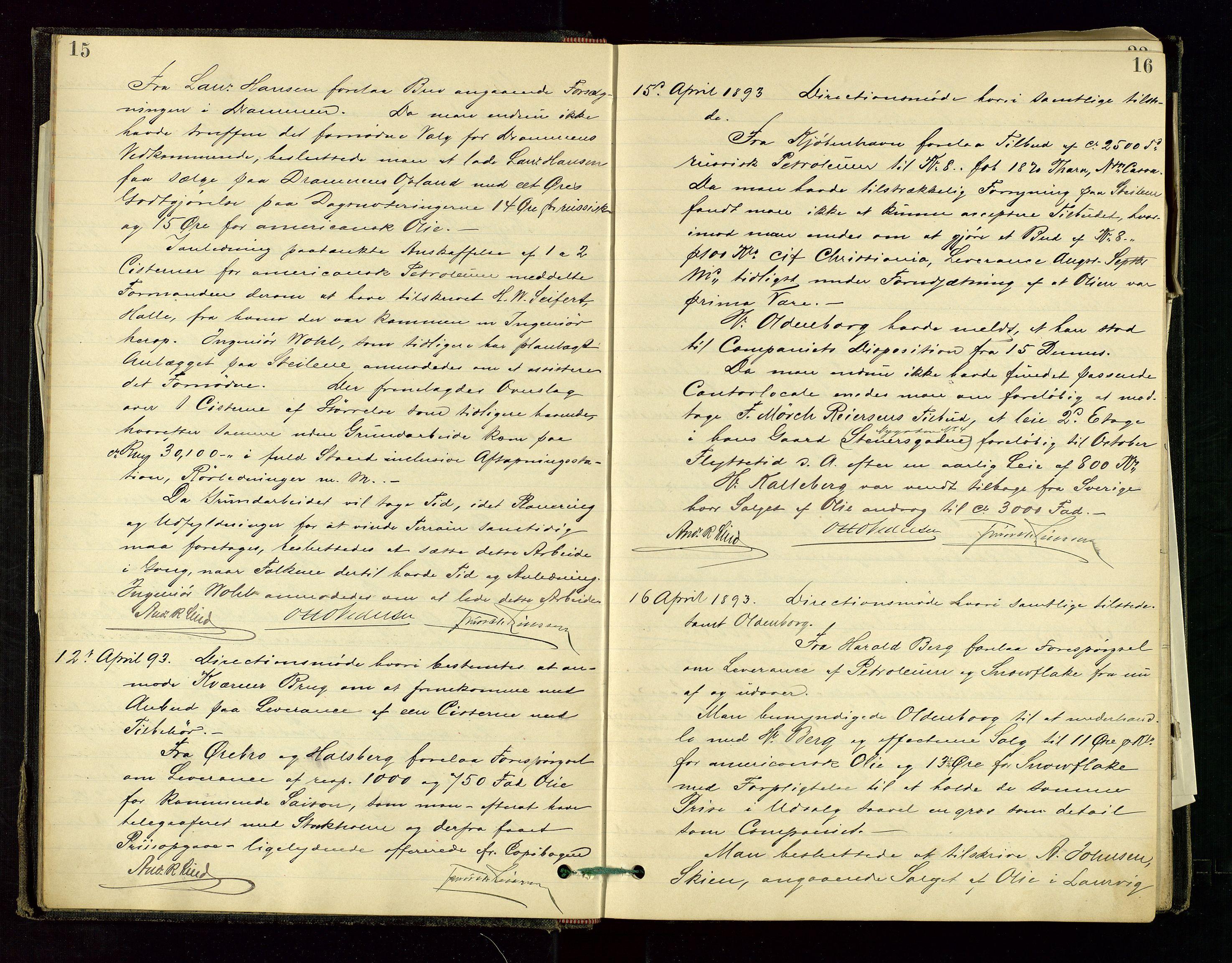 SAST, PA 1534 - Østlandske Petroleumscompagni A/S, A/Aa/L0001: Generalforsamlinger og direksjonsprotokoller., 1892-1905, s. 15-16