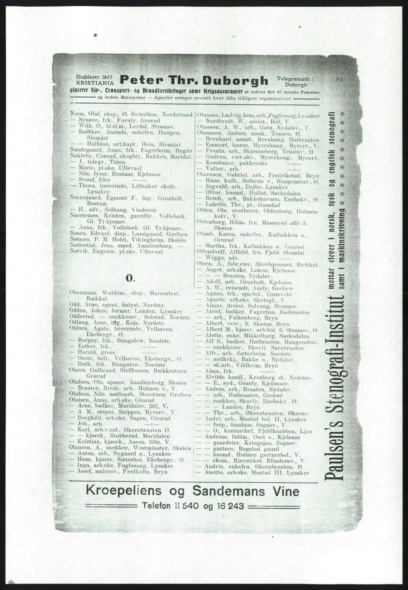 RA, Aker adressebok/adressekalender (publikasjon)*, 1916-1917, s. 87