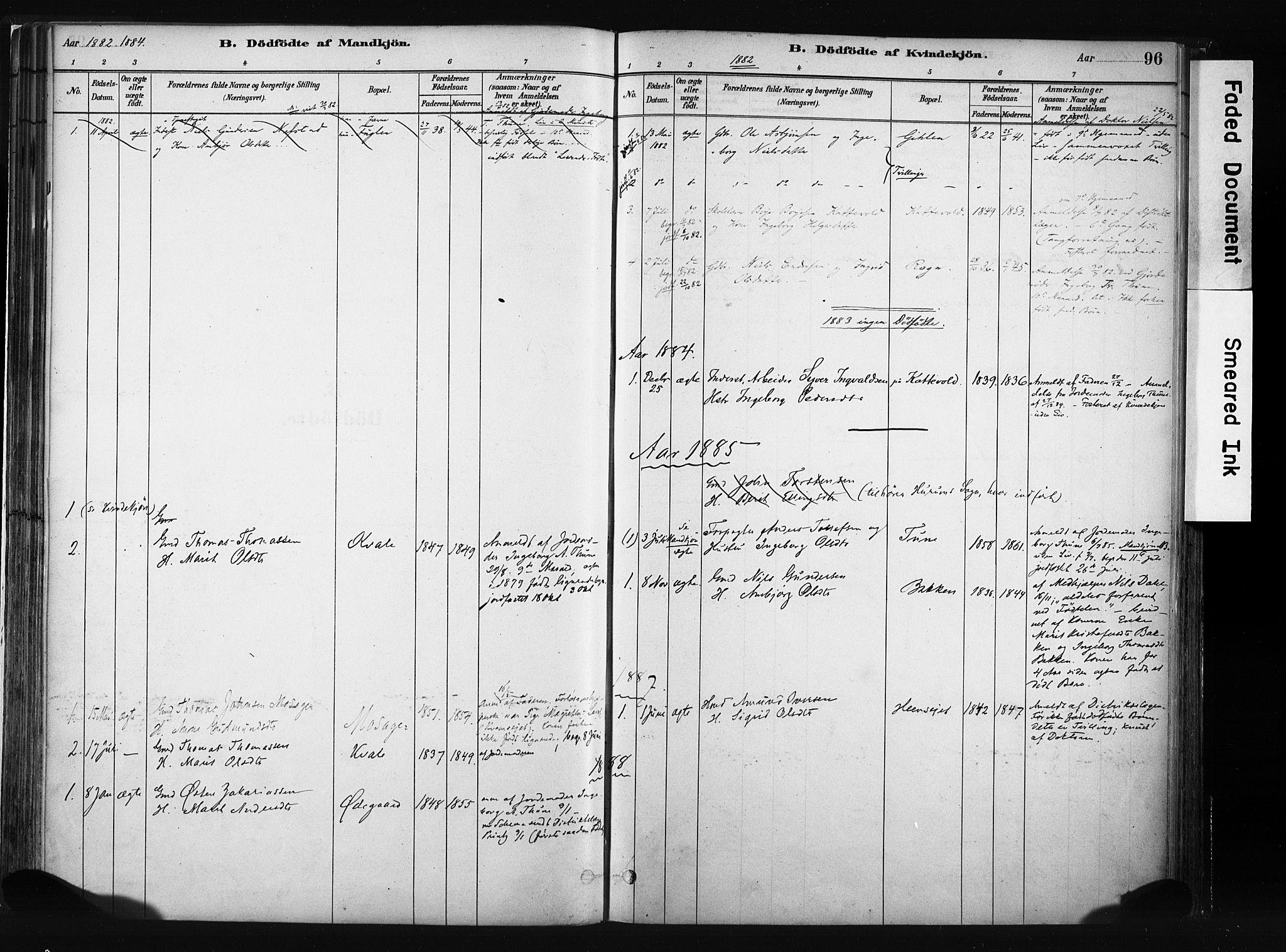 SAH, Vang prestekontor, Valdres, Ministerialbok nr. 8, 1882-1910, s. 96