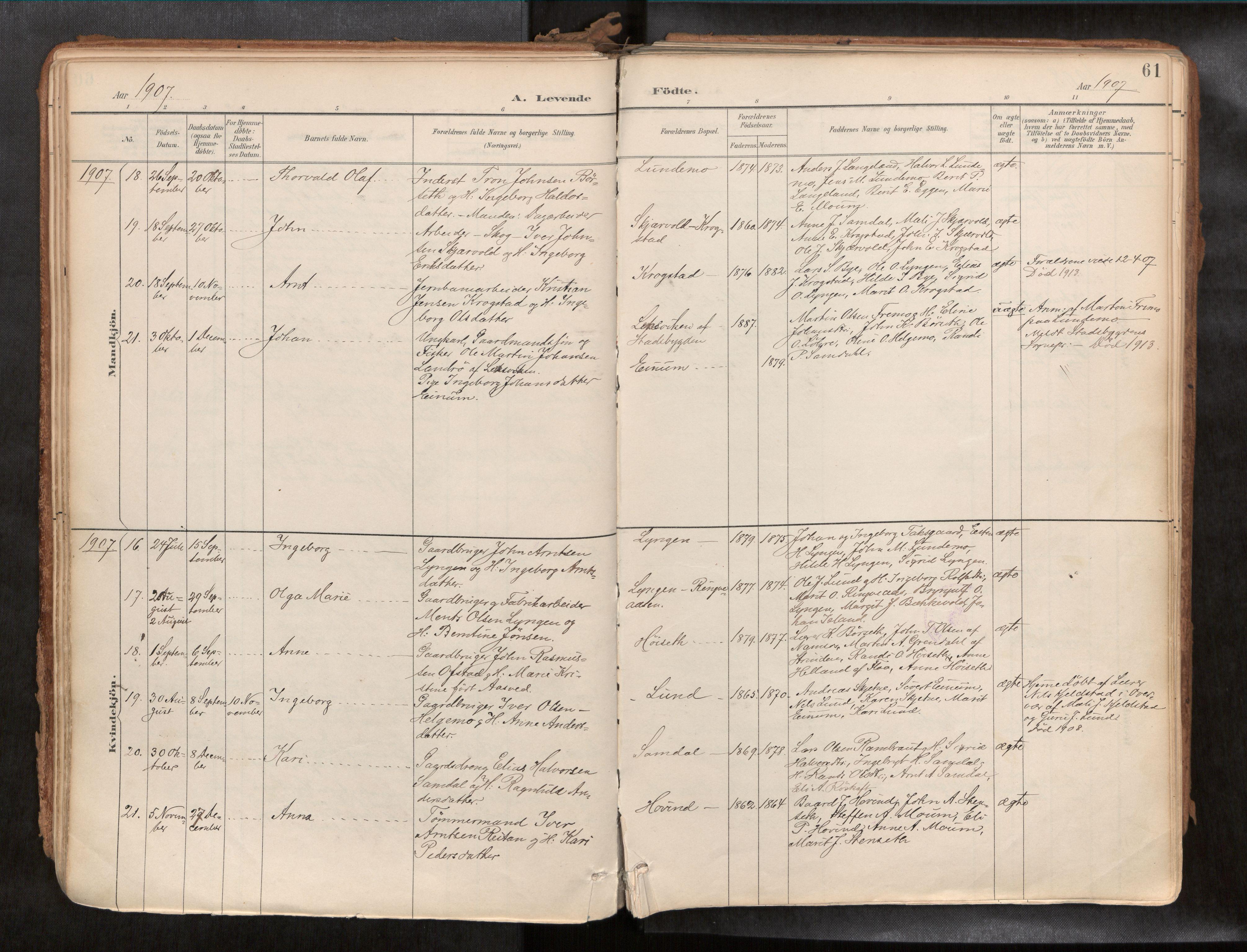 SAT, Ministerialprotokoller, klokkerbøker og fødselsregistre - Sør-Trøndelag, 692/L1105b: Ministerialbok nr. 692A06, 1891-1934, s. 61