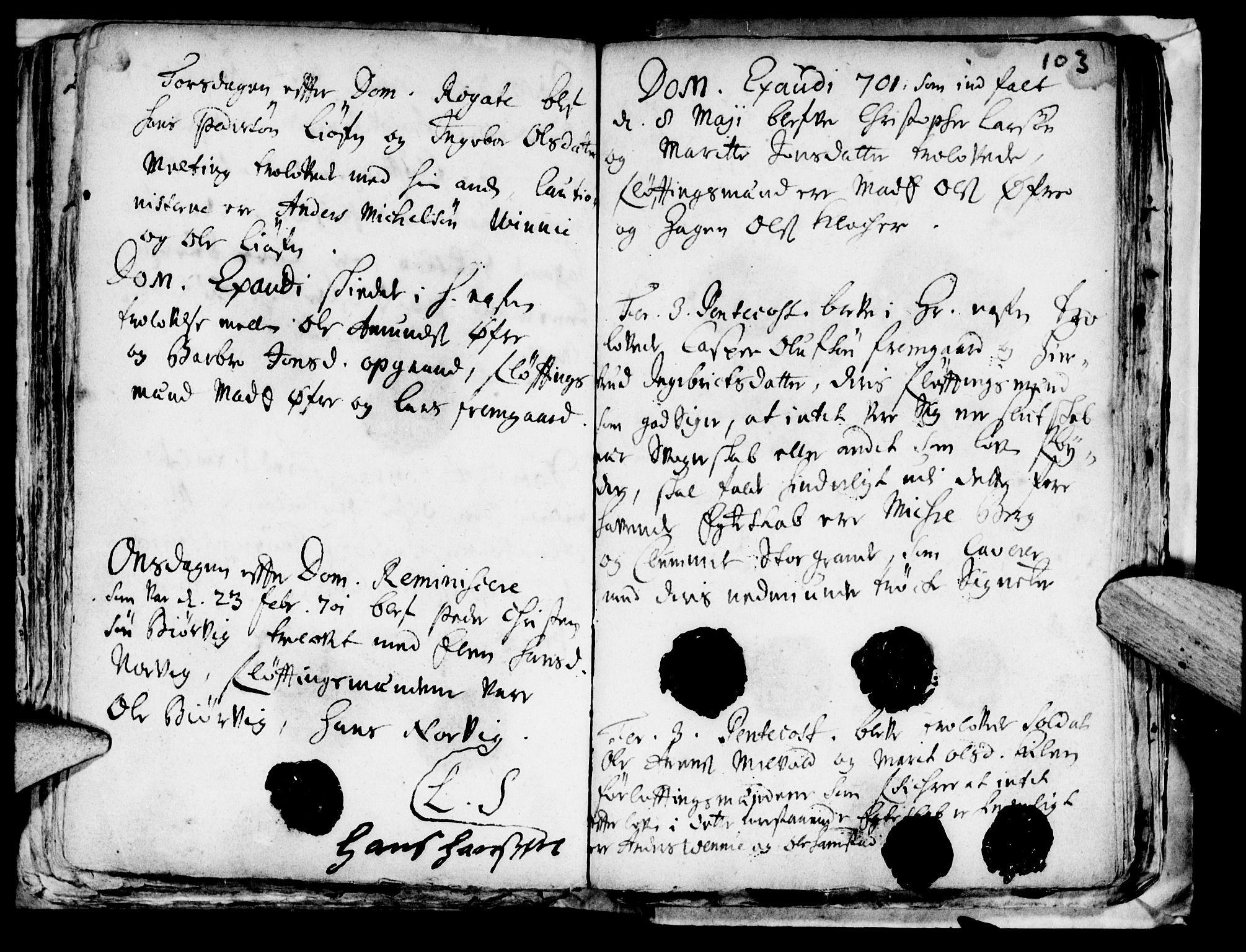 SAT, Ministerialprotokoller, klokkerbøker og fødselsregistre - Nord-Trøndelag, 722/L0214: Ministerialbok nr. 722A01, 1692-1718, s. 103