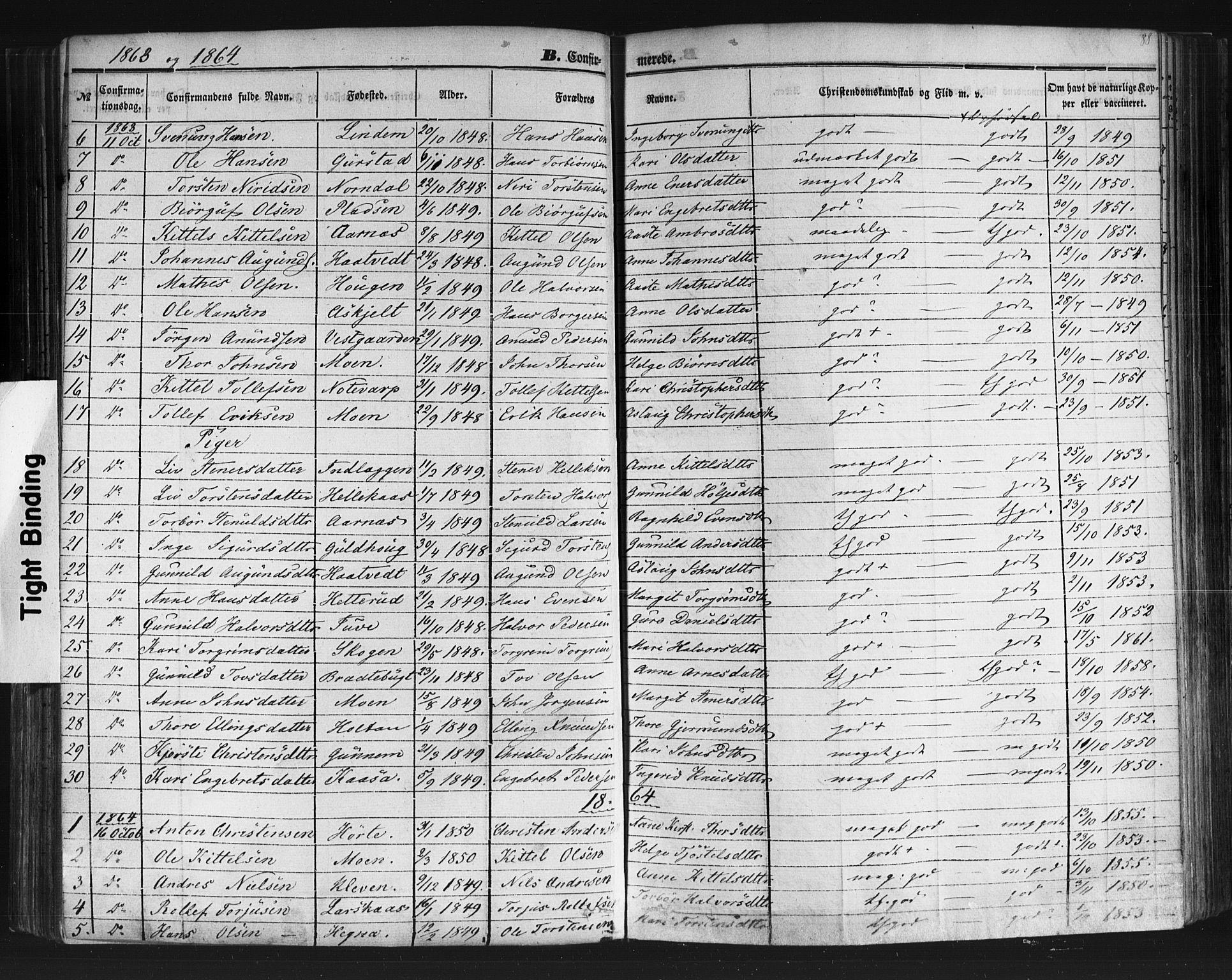 SAKO, Sauherad kirkebøker, F/Fb/L0001: Ministerialbok nr. II 1, 1851-1877, s. 88