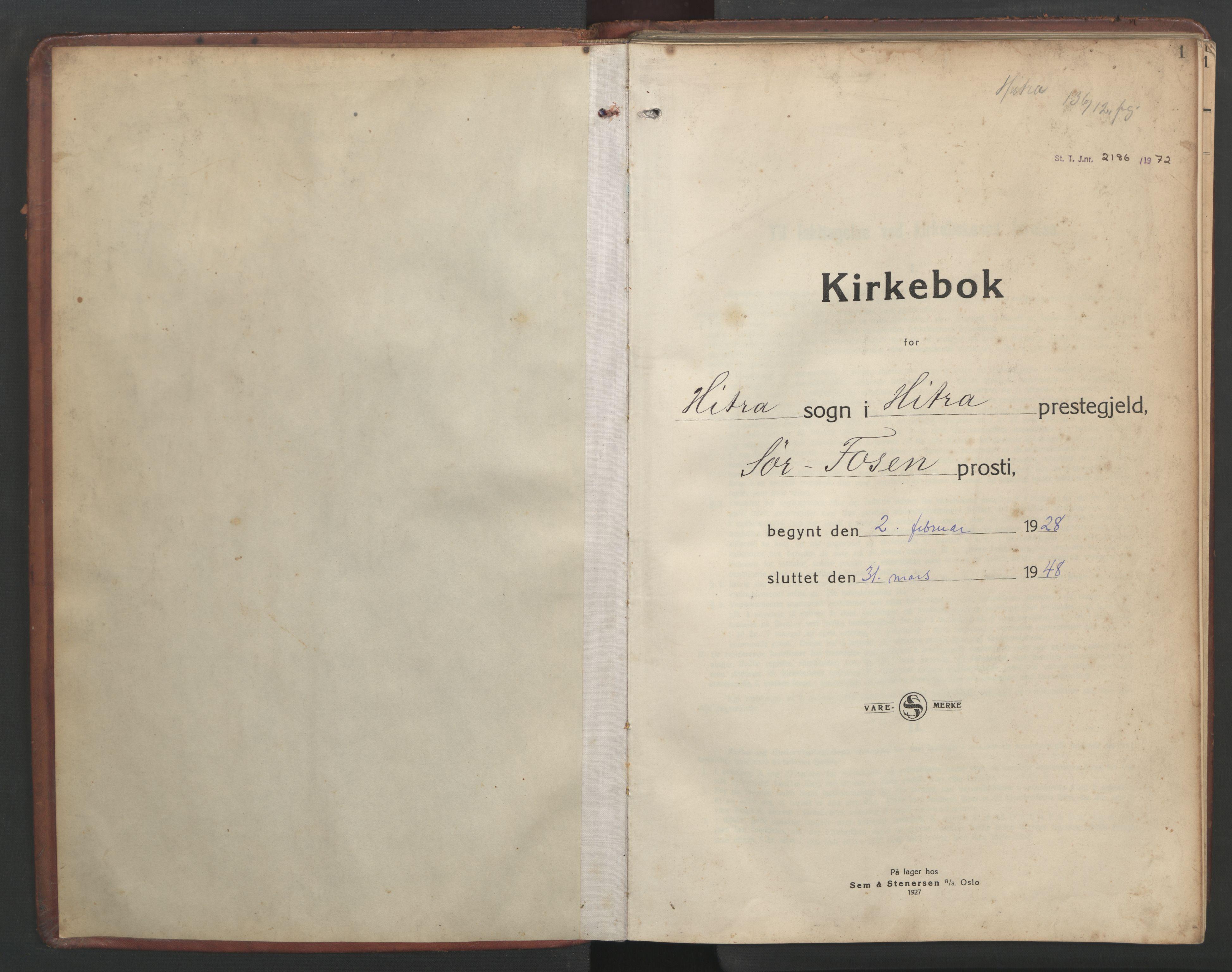 SAT, Ministerialprotokoller, klokkerbøker og fødselsregistre - Sør-Trøndelag, 634/L0544: Klokkerbok nr. 634C06, 1927-1948, s. 1