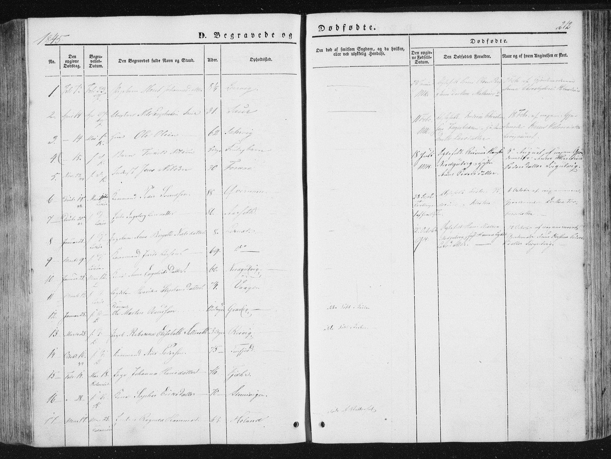 SAT, Ministerialprotokoller, klokkerbøker og fødselsregistre - Nord-Trøndelag, 780/L0640: Ministerialbok nr. 780A05, 1845-1856, s. 212