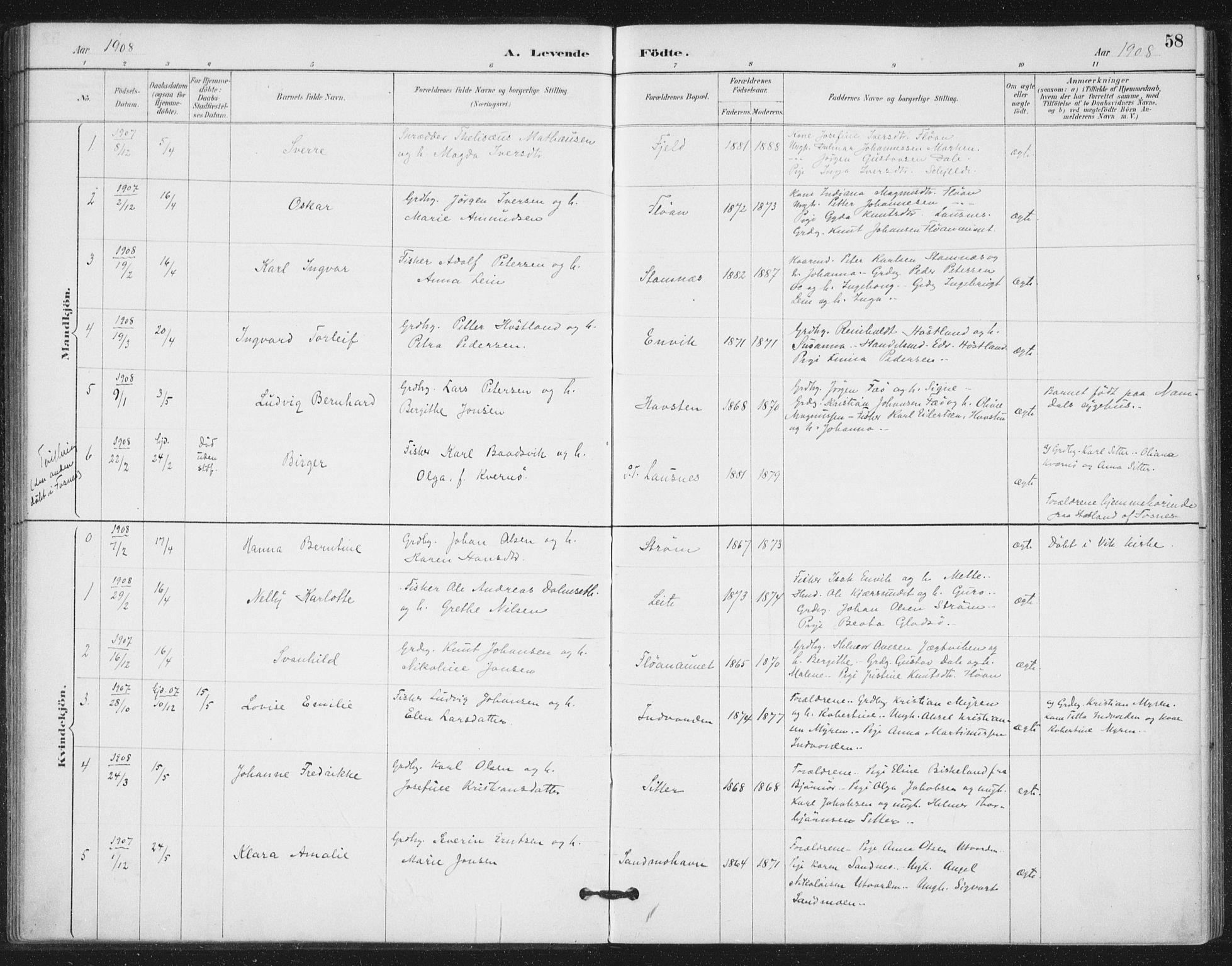SAT, Ministerialprotokoller, klokkerbøker og fødselsregistre - Nord-Trøndelag, 772/L0603: Ministerialbok nr. 772A01, 1885-1912, s. 58