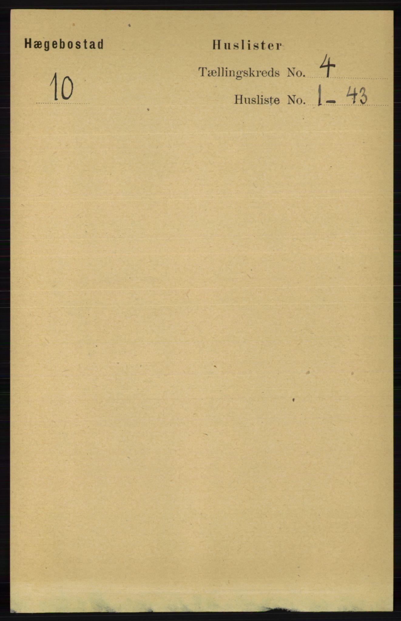 RA, Folketelling 1891 for 1034 Hægebostad herred, 1891, s. 1144