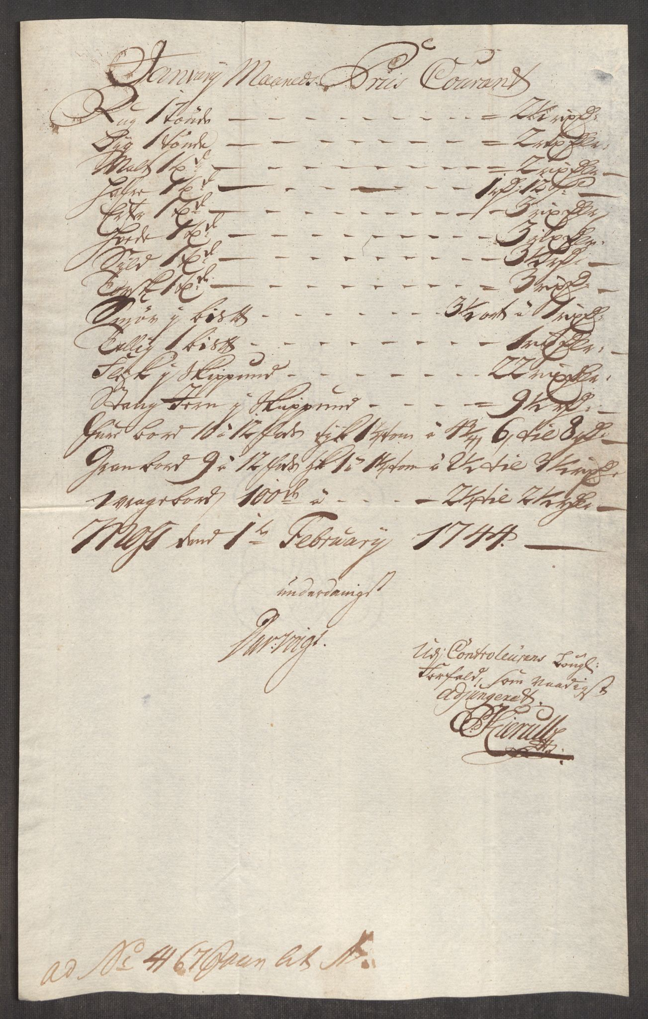 RA, Rentekammeret inntil 1814, Realistisk ordnet avdeling, Oe/L0002: [Ø1]: Priskuranter, 1740-1744, s. 843