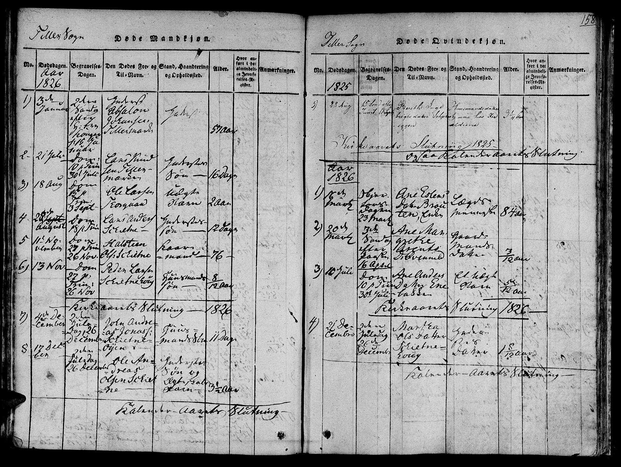 SAT, Ministerialprotokoller, klokkerbøker og fødselsregistre - Sør-Trøndelag, 618/L0440: Ministerialbok nr. 618A04 /2, 1816-1843, s. 158