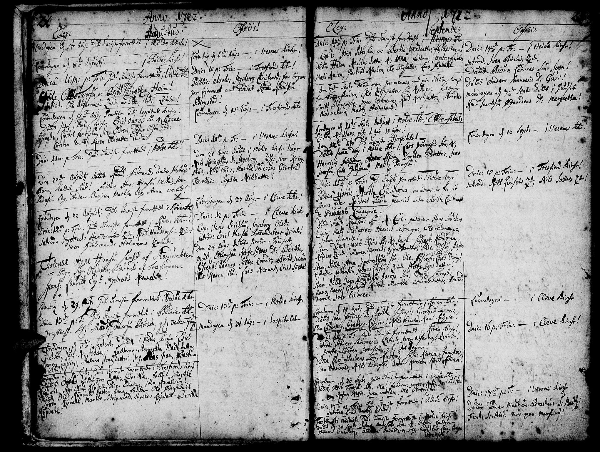 SAT, Ministerialprotokoller, klokkerbøker og fødselsregistre - Møre og Romsdal, 547/L0599: Ministerialbok nr. 547A01, 1721-1764, s. 22-23