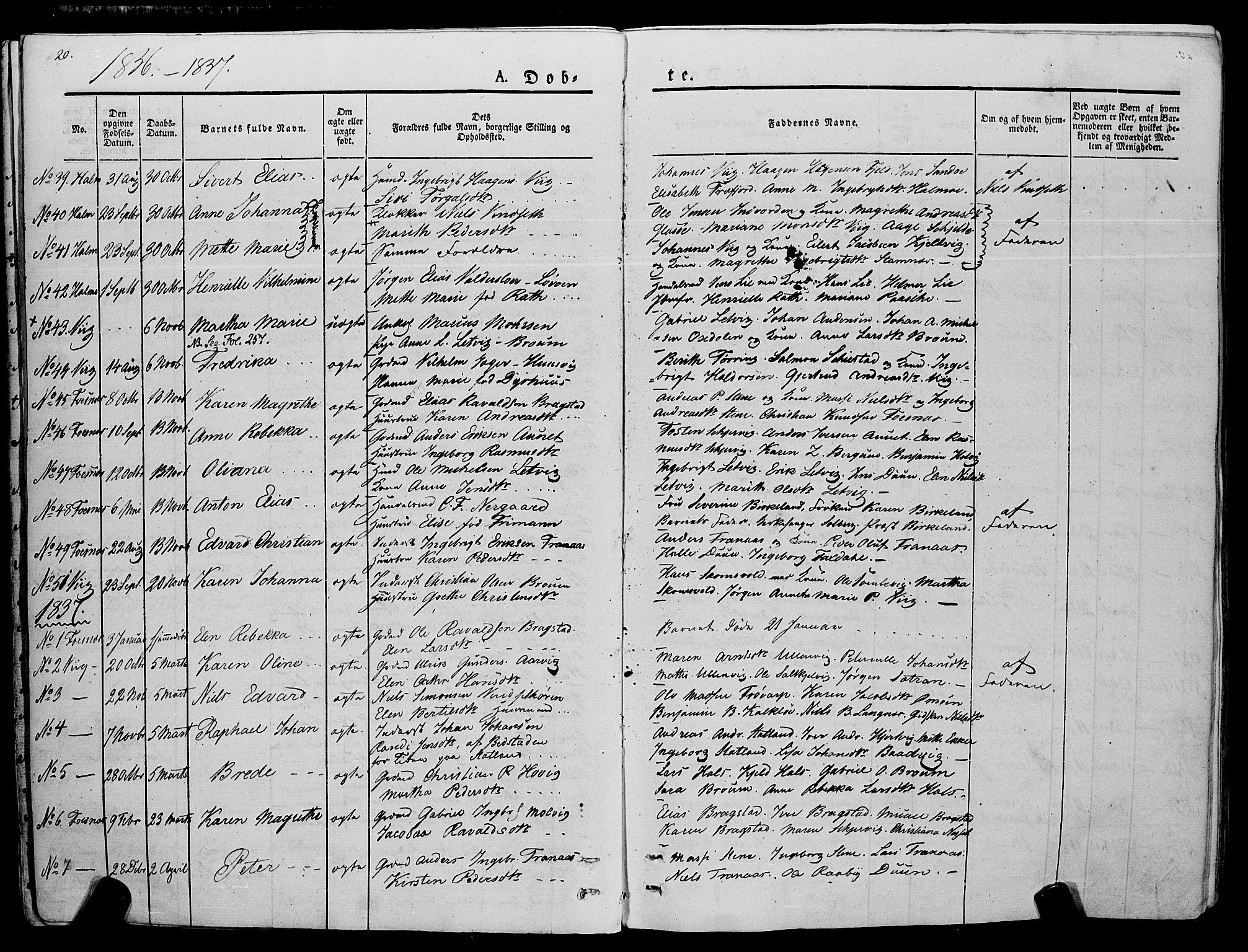 SAT, Ministerialprotokoller, klokkerbøker og fødselsregistre - Nord-Trøndelag, 773/L0614: Ministerialbok nr. 773A05, 1831-1856, s. 20