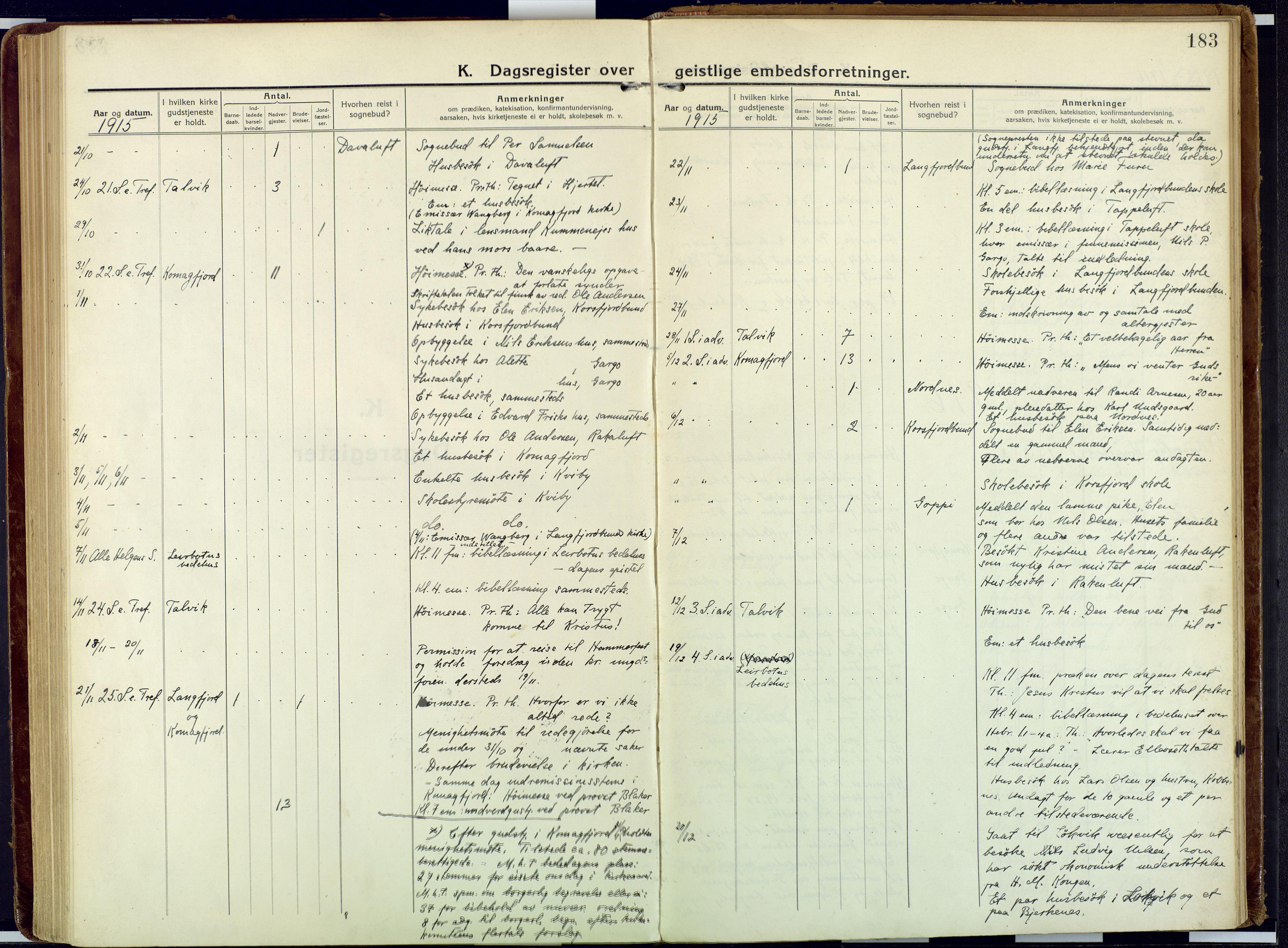 SATØ, Talvik sokneprestkontor, H/Ha/L0018kirke: Ministerialbok nr. 18, 1915-1924, s. 183