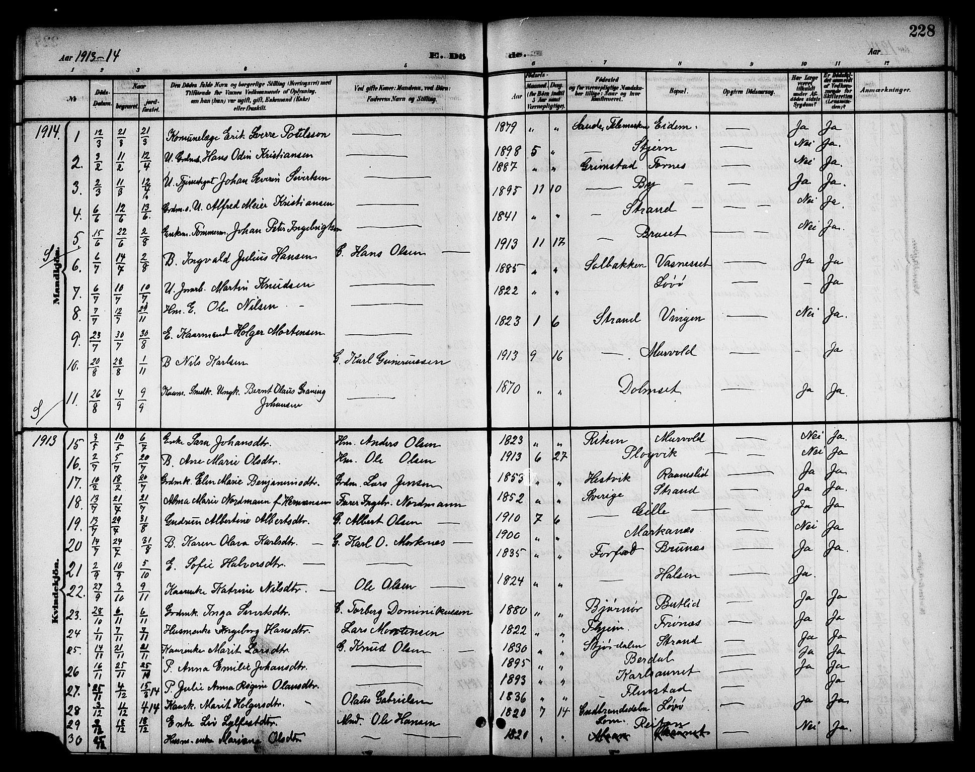 SAT, Ministerialprotokoller, klokkerbøker og fødselsregistre - Sør-Trøndelag, 655/L0688: Klokkerbok nr. 655C04, 1899-1922, s. 228