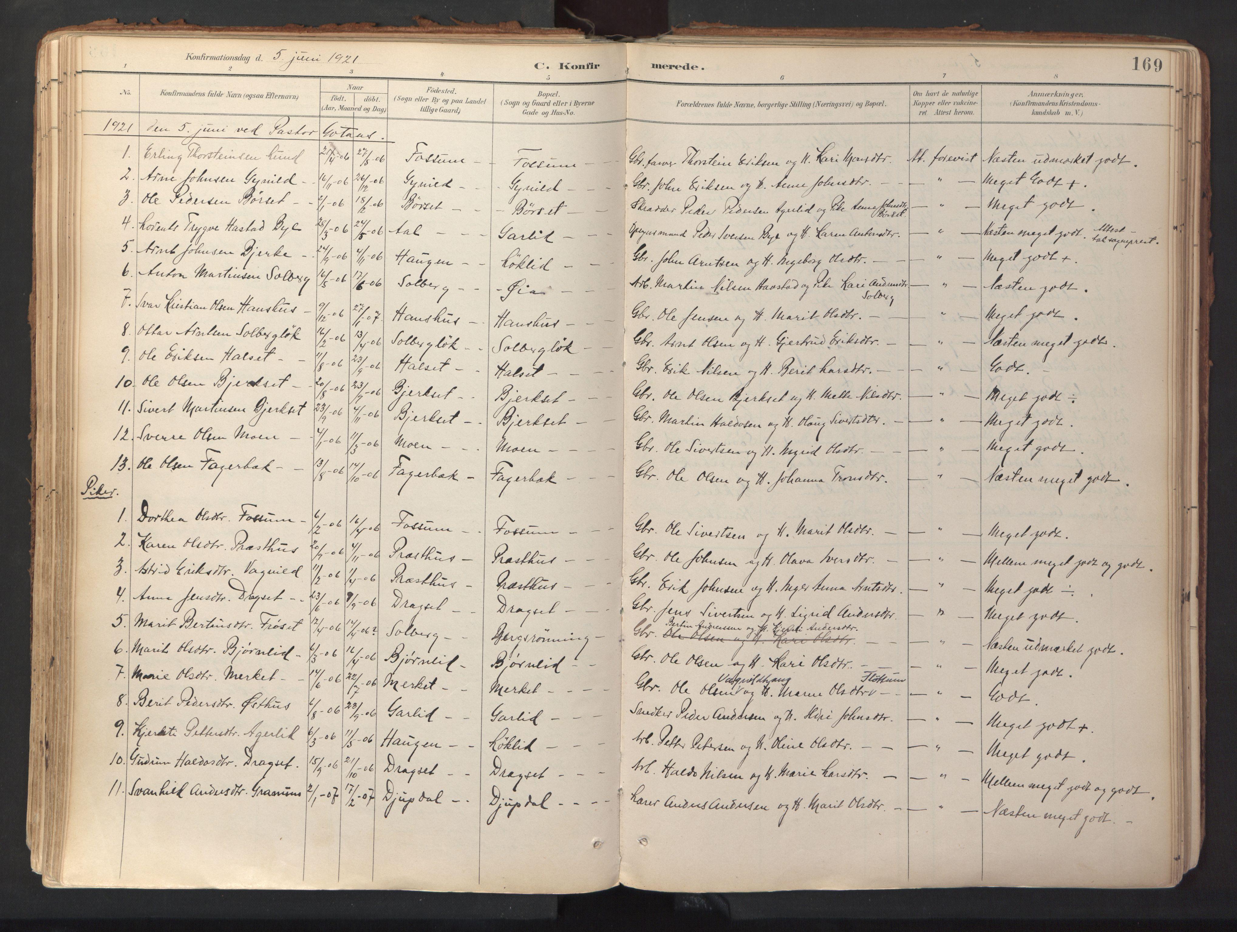 SAT, Ministerialprotokoller, klokkerbøker og fødselsregistre - Sør-Trøndelag, 689/L1041: Ministerialbok nr. 689A06, 1891-1923, s. 169