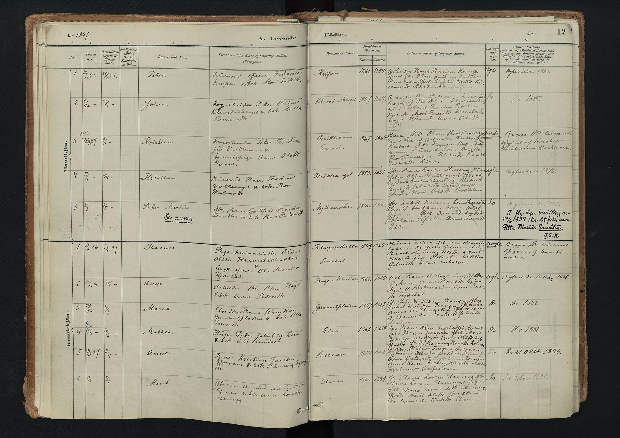 SAH, Nord-Fron prestekontor, Ministerialbok nr. 3, 1884-1914, s. 12