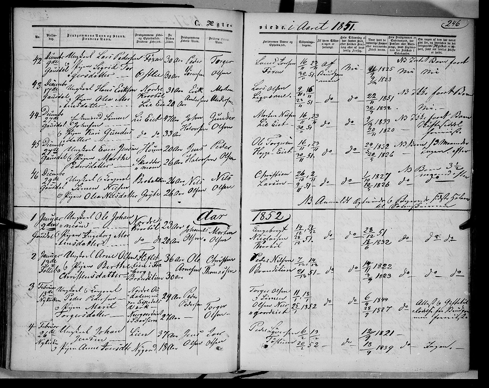 SAH, Gausdal prestekontor, Ministerialbok nr. 8, 1850-1861, s. 246