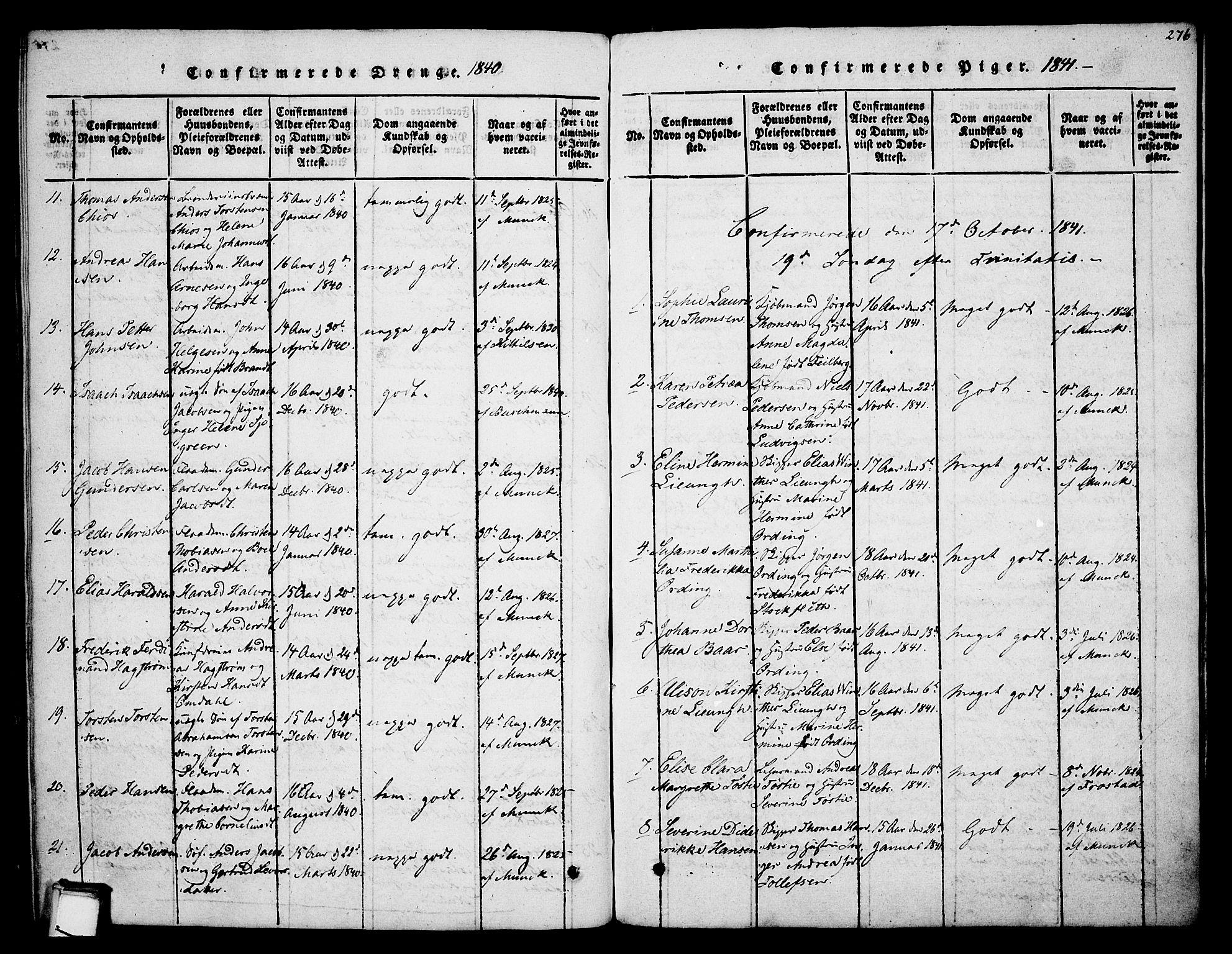 SAKO, Skien kirkebøker, F/Fa/L0005: Ministerialbok nr. 5, 1814-1843, s. 276
