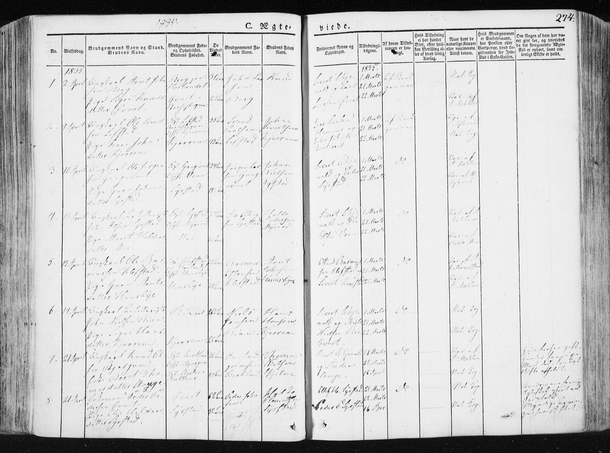 SAT, Ministerialprotokoller, klokkerbøker og fødselsregistre - Sør-Trøndelag, 665/L0771: Ministerialbok nr. 665A06, 1830-1856, s. 274