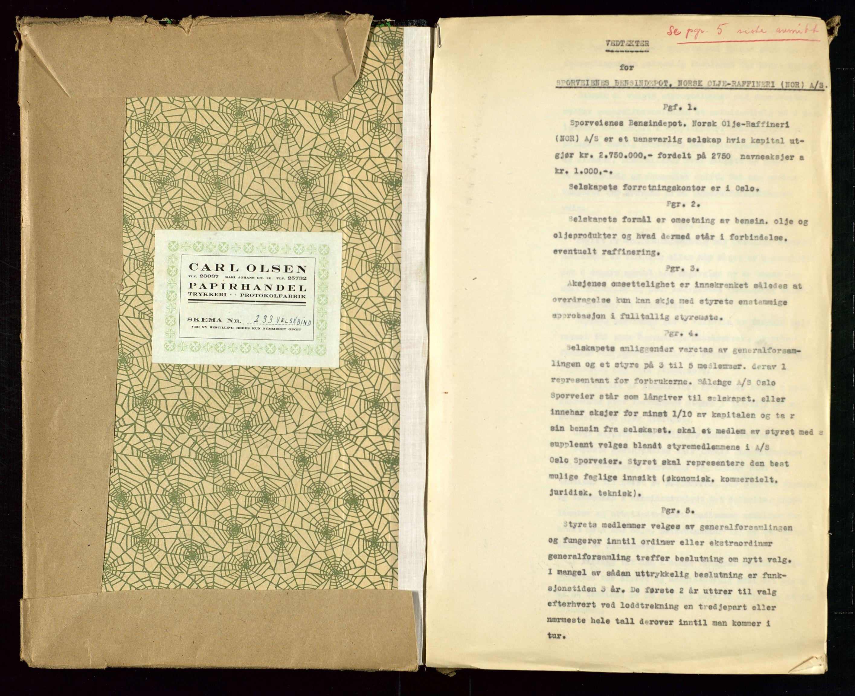 SAST, PA 1514 - Sporveienes Bensindepot, Norsk Oljeraffineri A/S, A/L0001: Styreprotokoll. Forhandlingsprotokoll Arbeidsutvaget, 1946-1951, s. 2