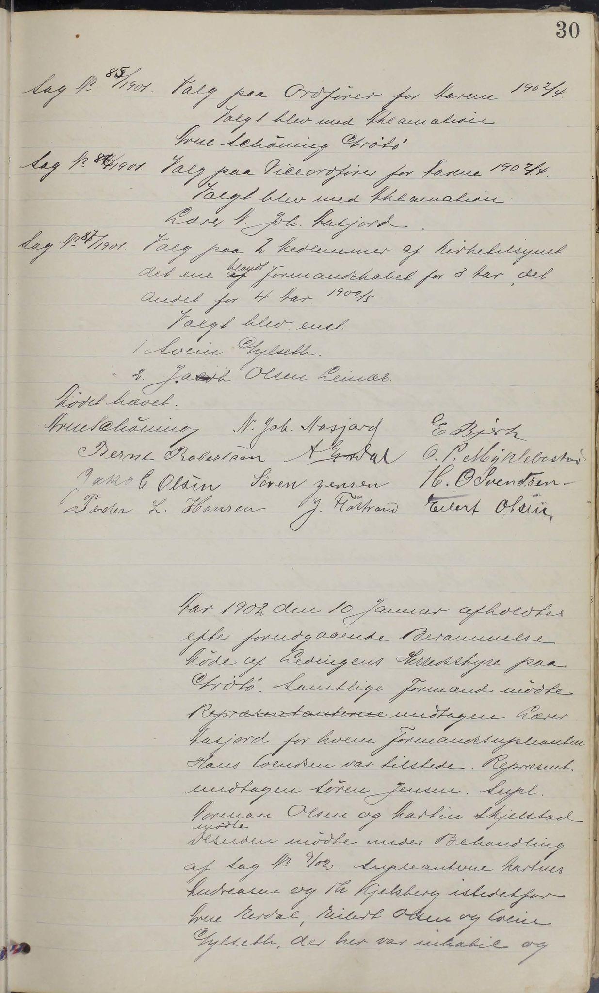 AIN, Leiranger kommune. Formannskapet, 100/L0001: Møtebok, 1900-1913, s. 30
