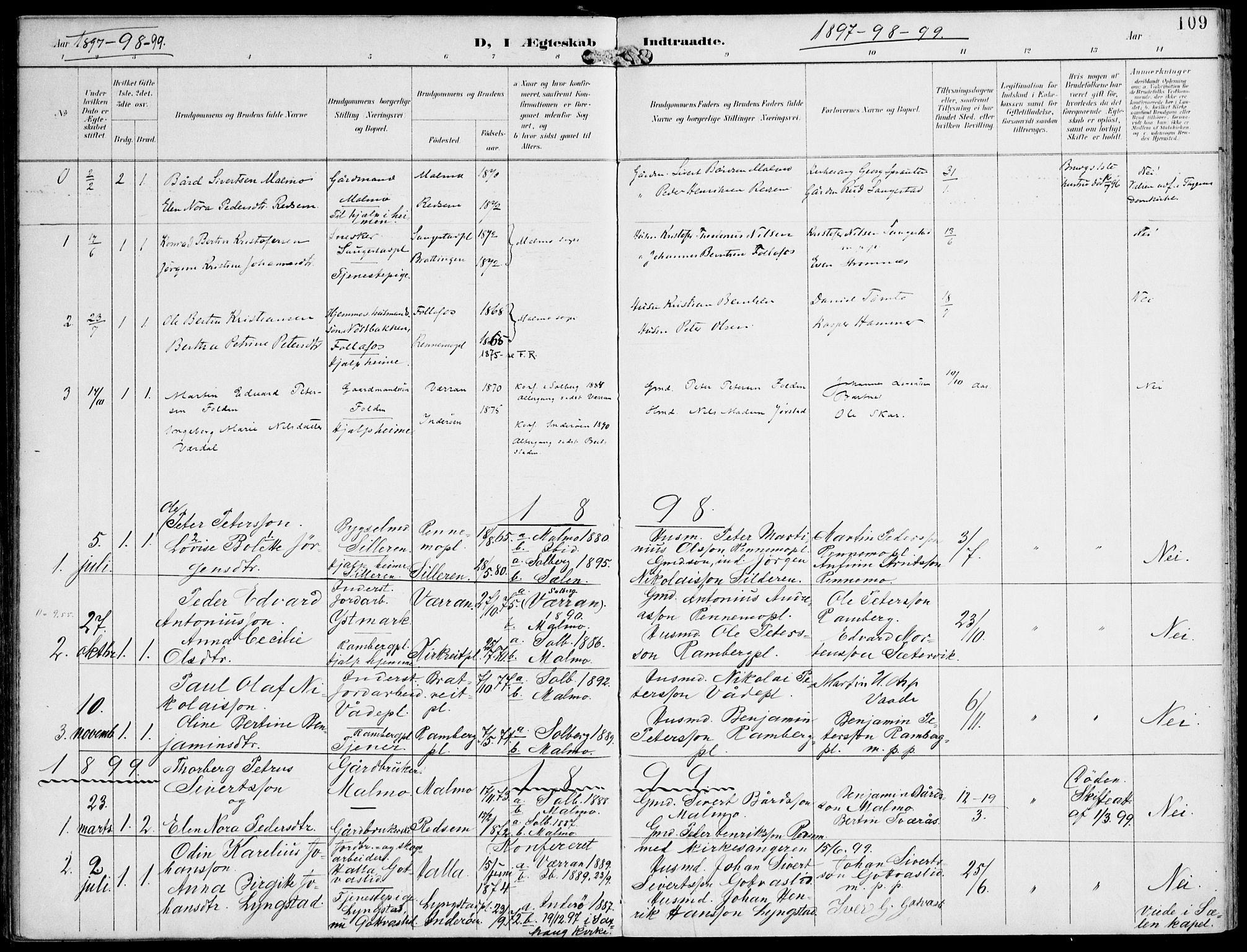 SAT, Ministerialprotokoller, klokkerbøker og fødselsregistre - Nord-Trøndelag, 745/L0430: Ministerialbok nr. 745A02, 1895-1913, s. 109
