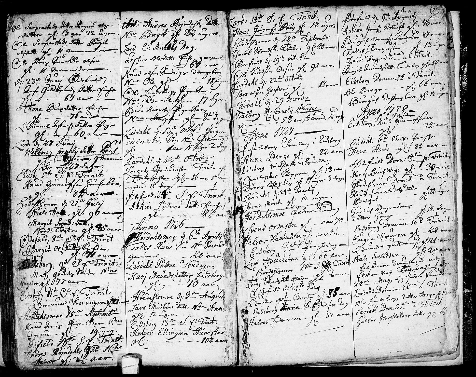 SAKO, Lårdal kirkebøker, F/Fa/L0001: Ministerialbok nr. I 1, 1721-1734, s. 81