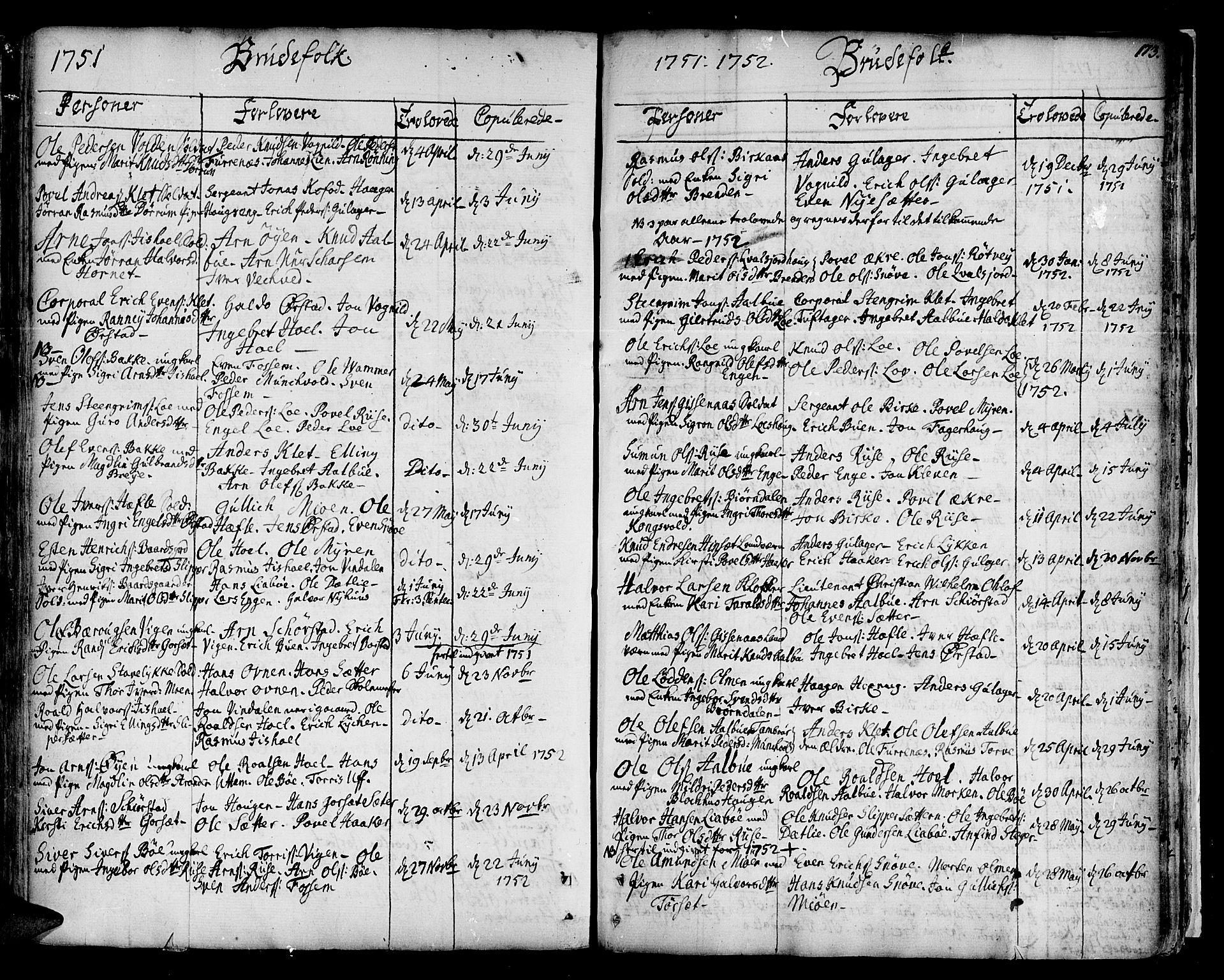 SAT, Ministerialprotokoller, klokkerbøker og fødselsregistre - Sør-Trøndelag, 678/L0891: Ministerialbok nr. 678A01, 1739-1780, s. 173