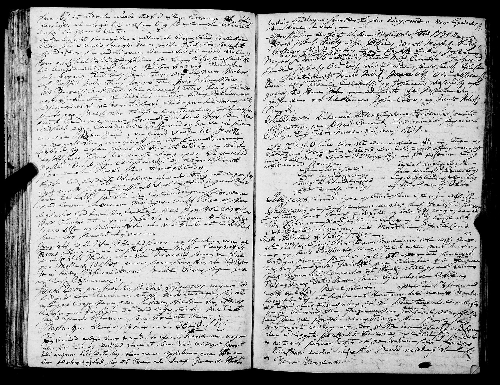 SAT, Romsdal sorenskriveri, 1/1A/L0011: Tingbok, 1732-1740, s. 73b-74a