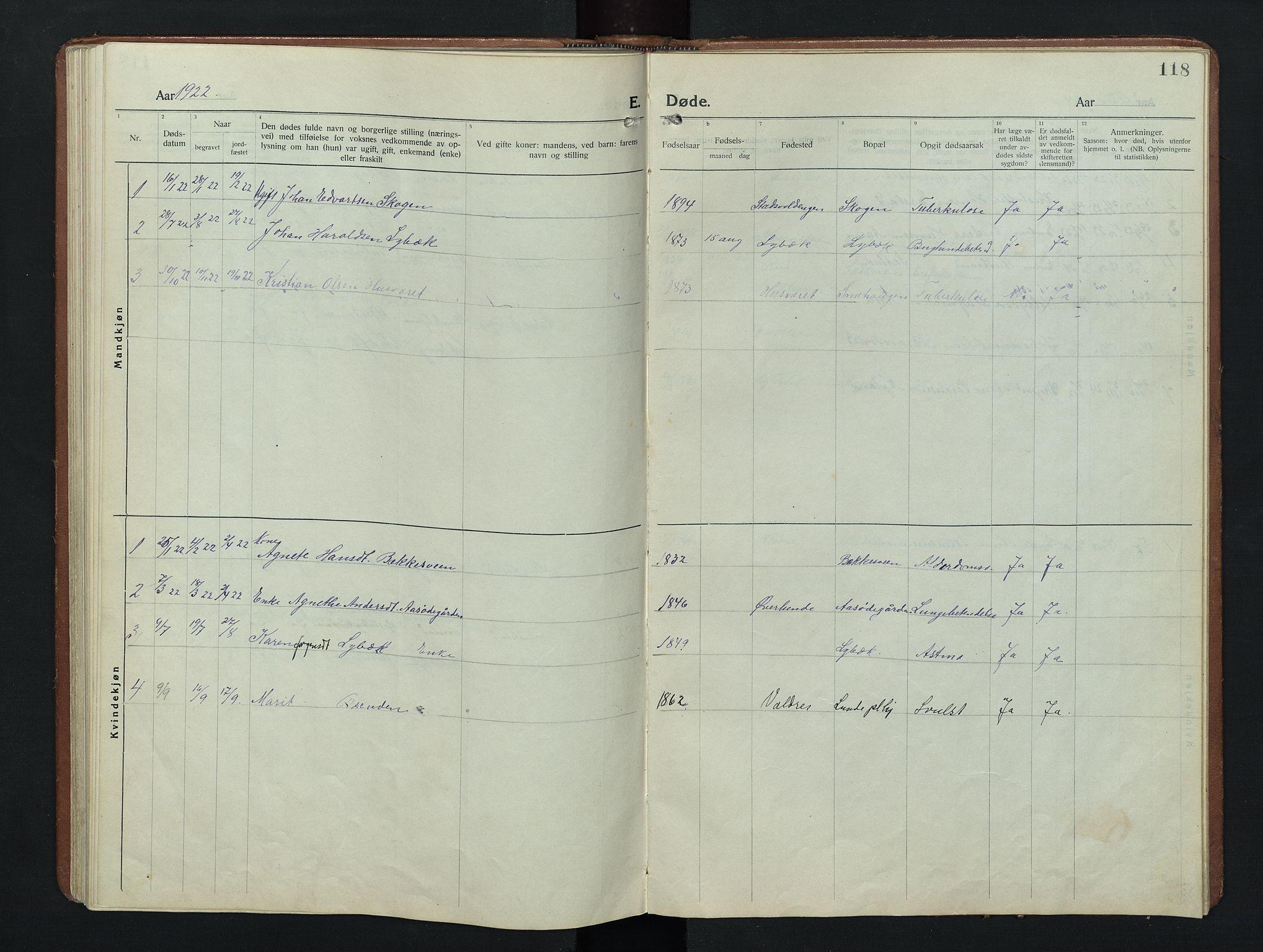 SAH, Nordre Land prestekontor, Klokkerbok nr. 9, 1921-1956, s. 118