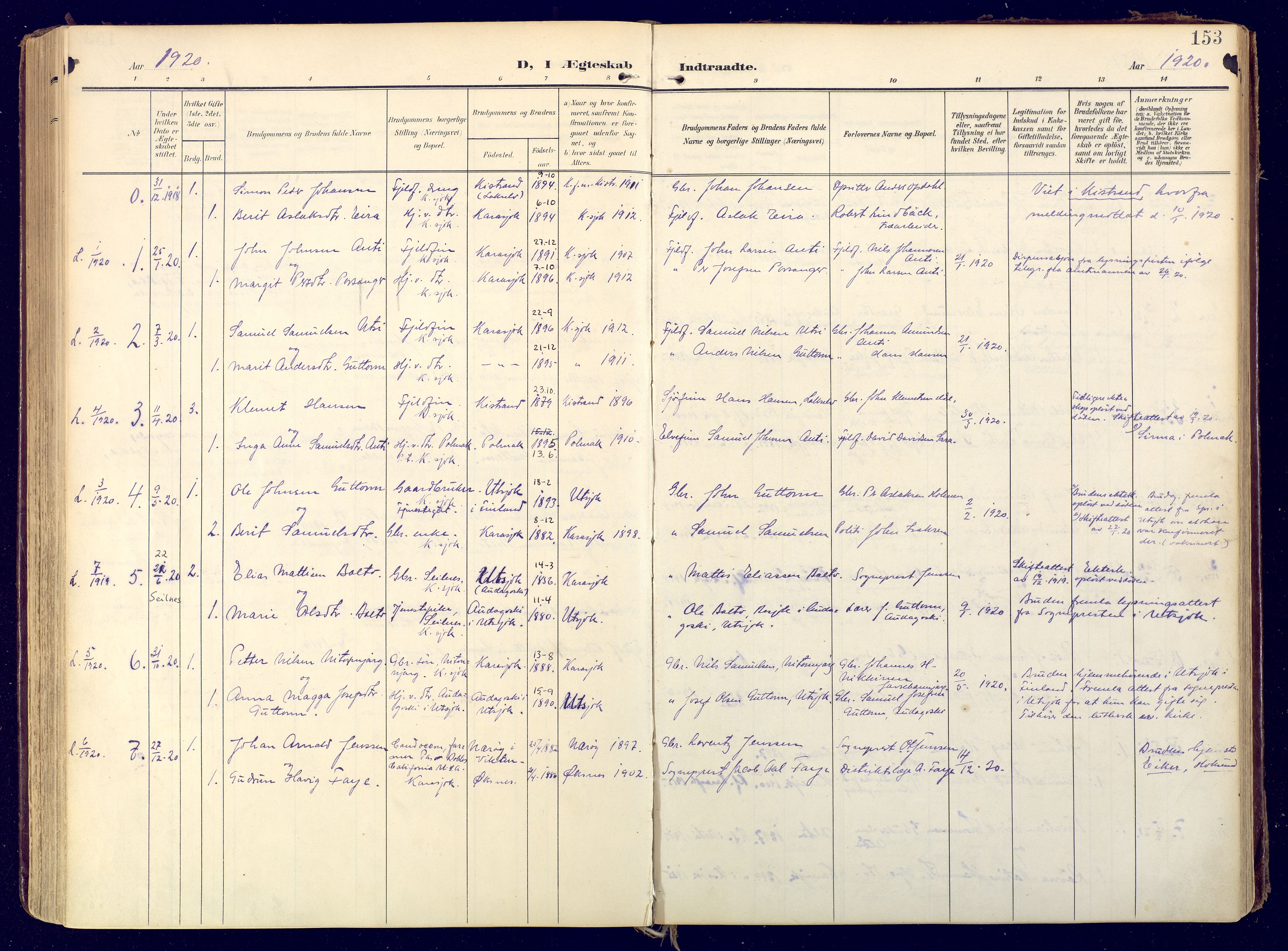 SATØ, Karasjok sokneprestkontor, H/Ha: Ministerialbok nr. 3, 1907-1926, s. 153