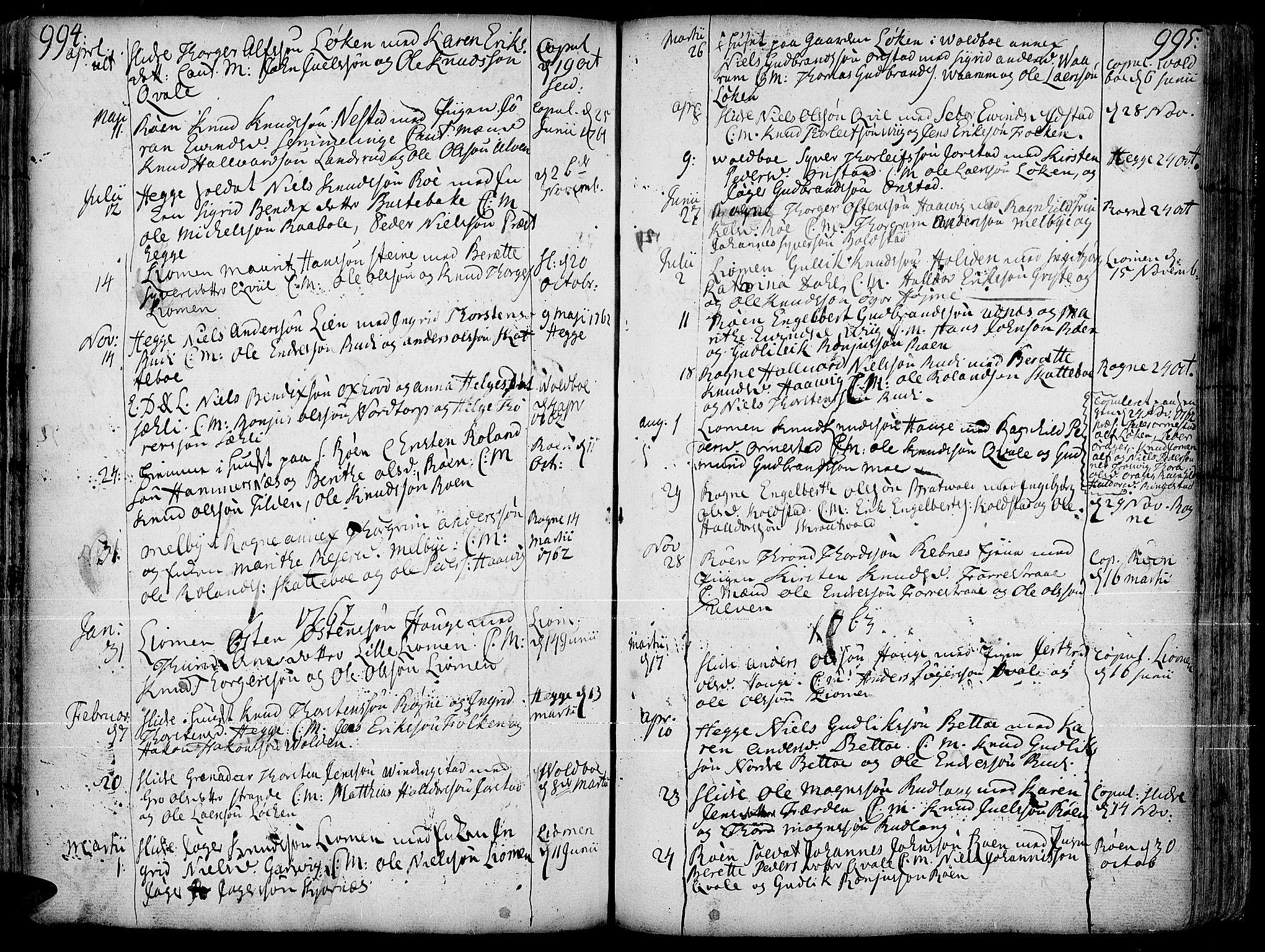 SAH, Slidre prestekontor, Ministerialbok nr. 1, 1724-1814, s. 994-995