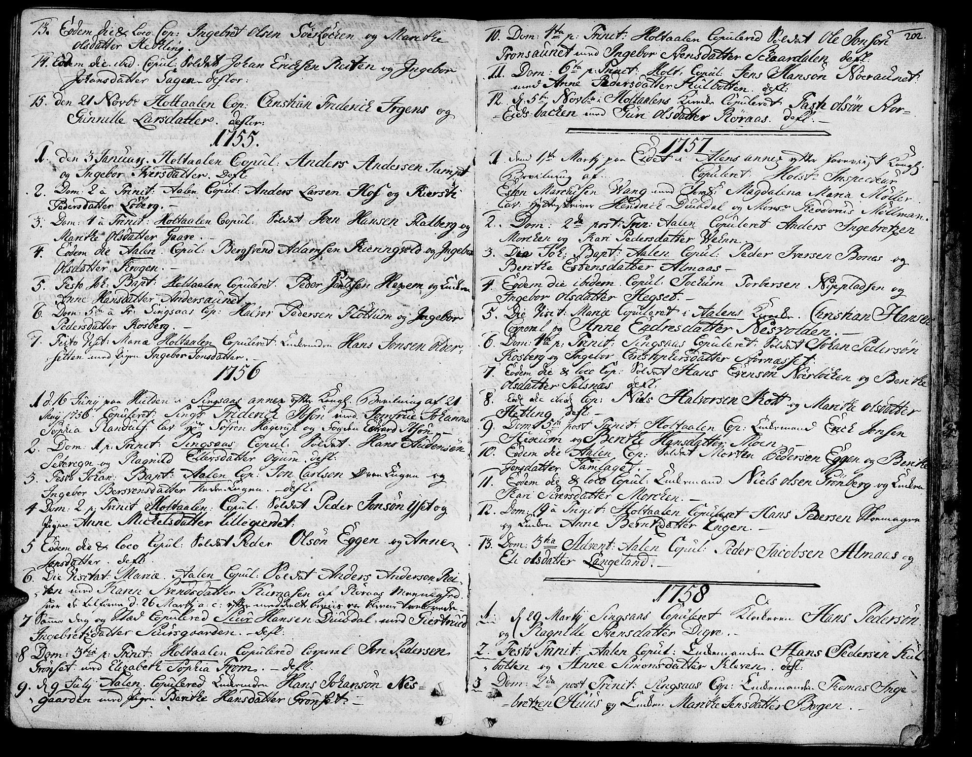 SAT, Ministerialprotokoller, klokkerbøker og fødselsregistre - Sør-Trøndelag, 685/L0952: Ministerialbok nr. 685A01, 1745-1804, s. 202