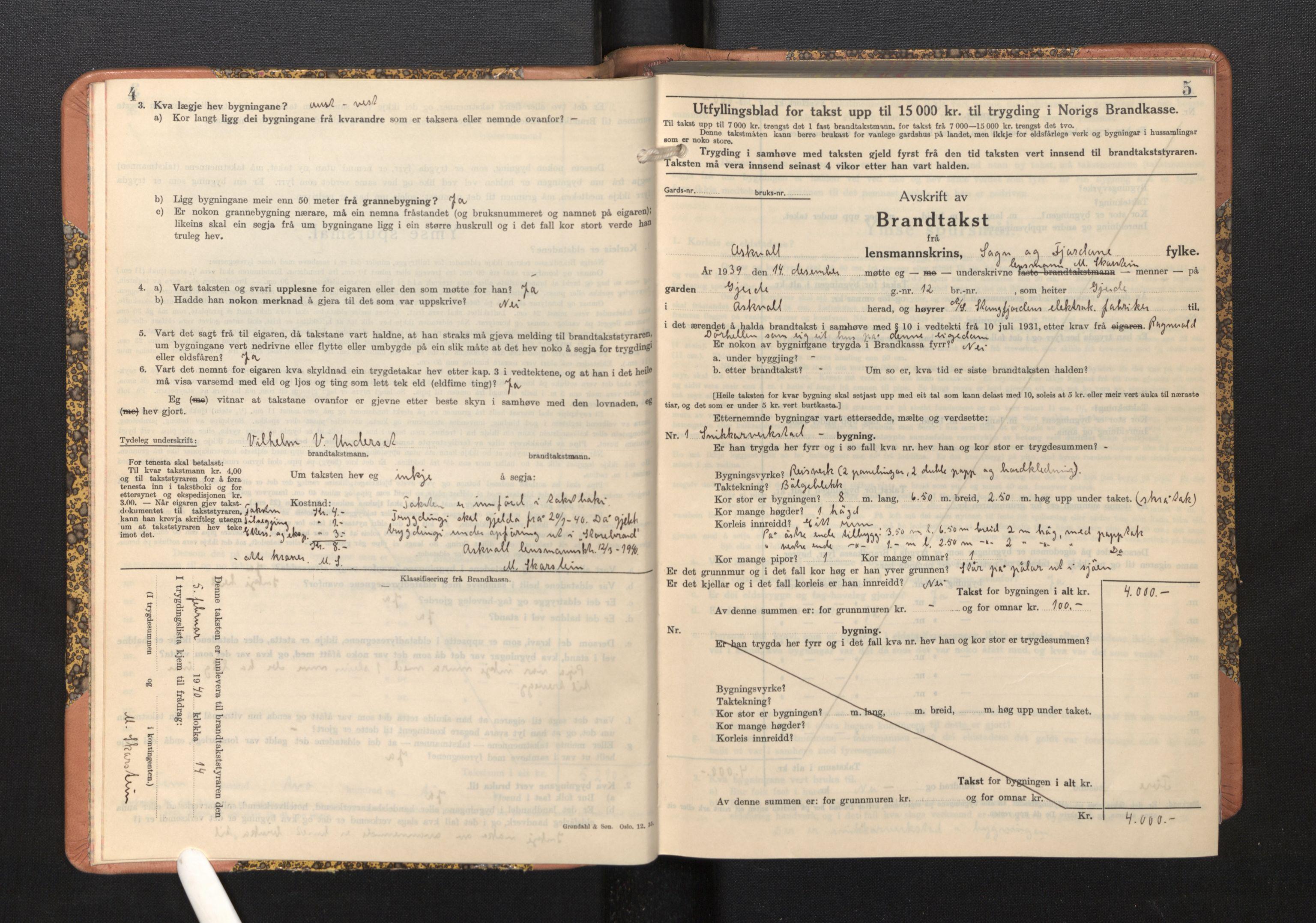 SAB, Lensmannen i Askvoll, 0012/L0005: Branntakstprotokoll, skjematakst, 1940-1949, s. 4-5