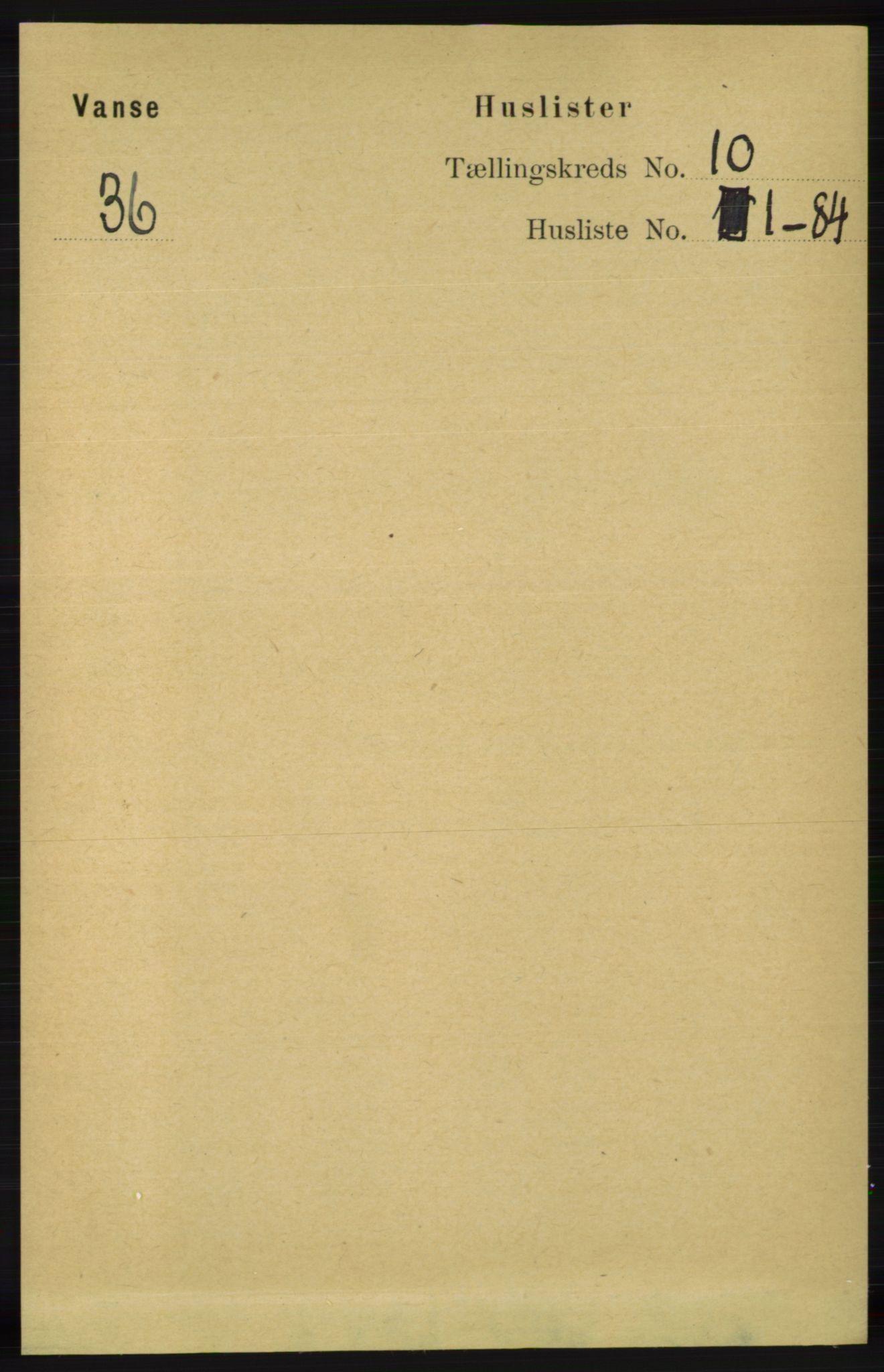 RA, Folketelling 1891 for 1041 Vanse herred, 1891, s. 5538