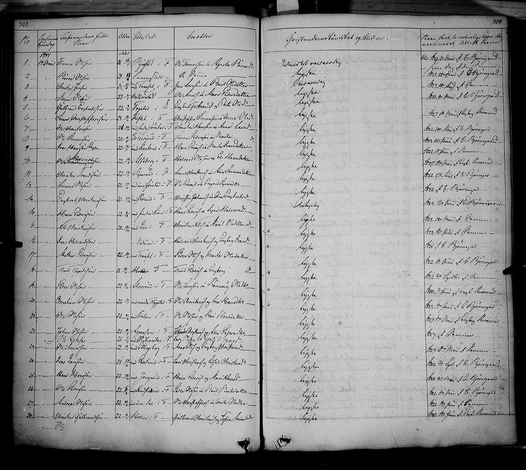 SAH, Fåberg prestekontor, Ministerialbok nr. 5, 1836-1854, s. 303-304
