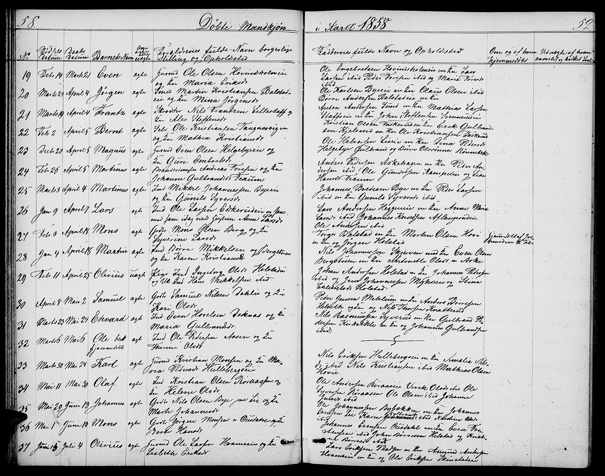SAH, Nes prestekontor, L/La/L0005: Klokkerbok nr. 5, 1852-1889, s. 58-59