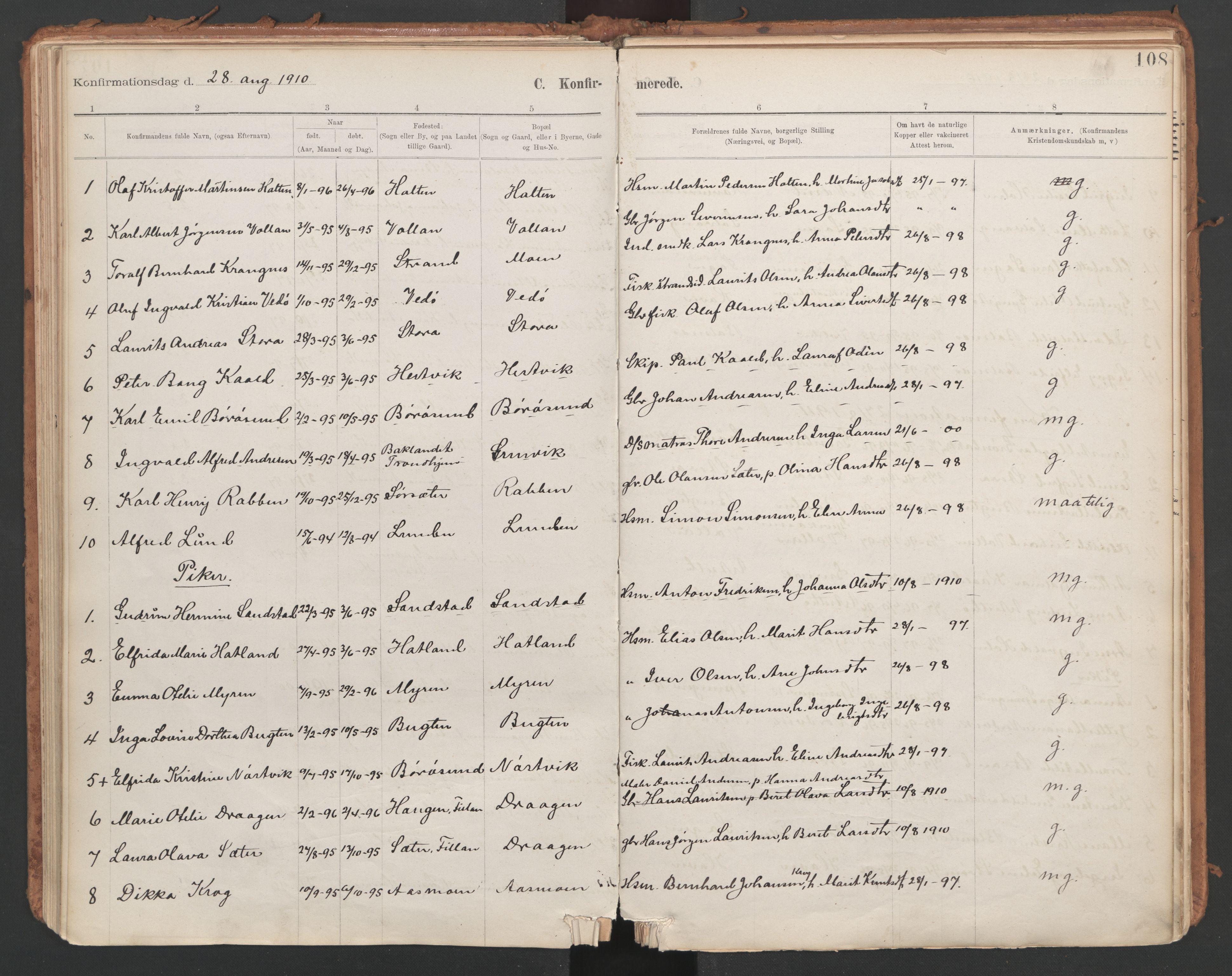 SAT, Ministerialprotokoller, klokkerbøker og fødselsregistre - Sør-Trøndelag, 639/L0572: Ministerialbok nr. 639A01, 1890-1920, s. 108
