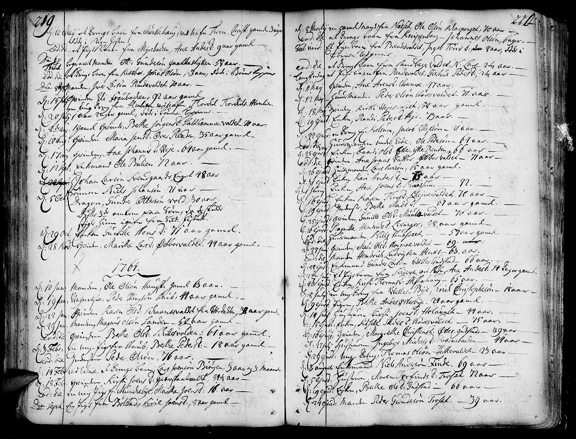 SAT, Ministerialprotokoller, klokkerbøker og fødselsregistre - Nord-Trøndelag, 717/L0141: Ministerialbok nr. 717A01, 1747-1803, s. 219-220