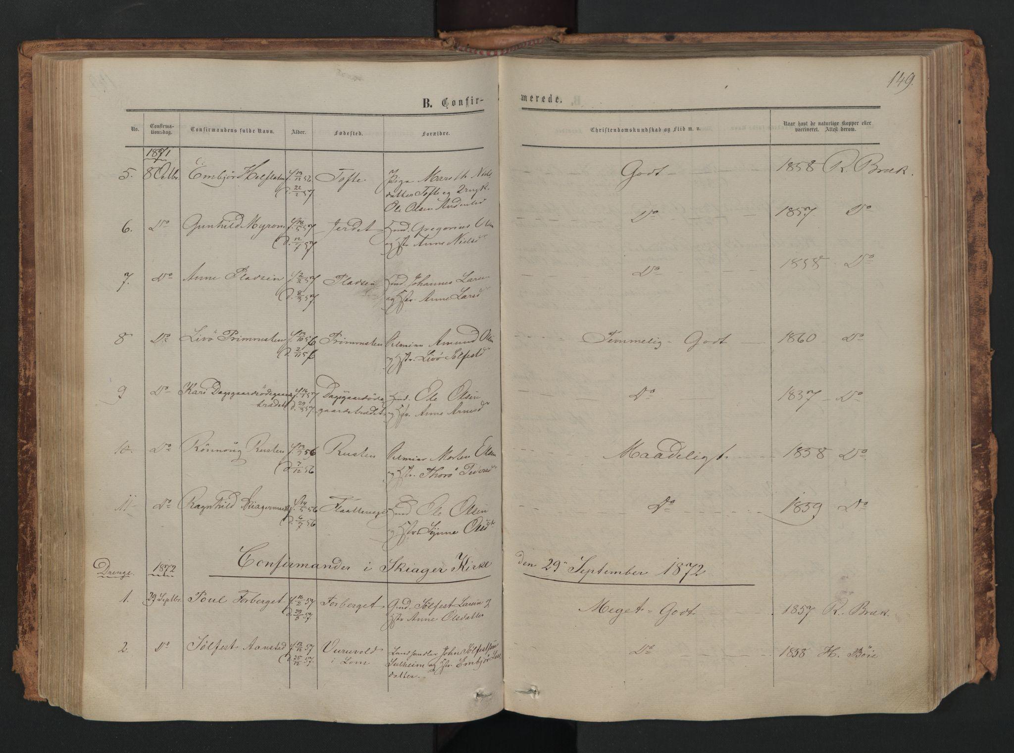 SAH, Skjåk prestekontor, Ministerialbok nr. 1, 1863-1879, s. 149