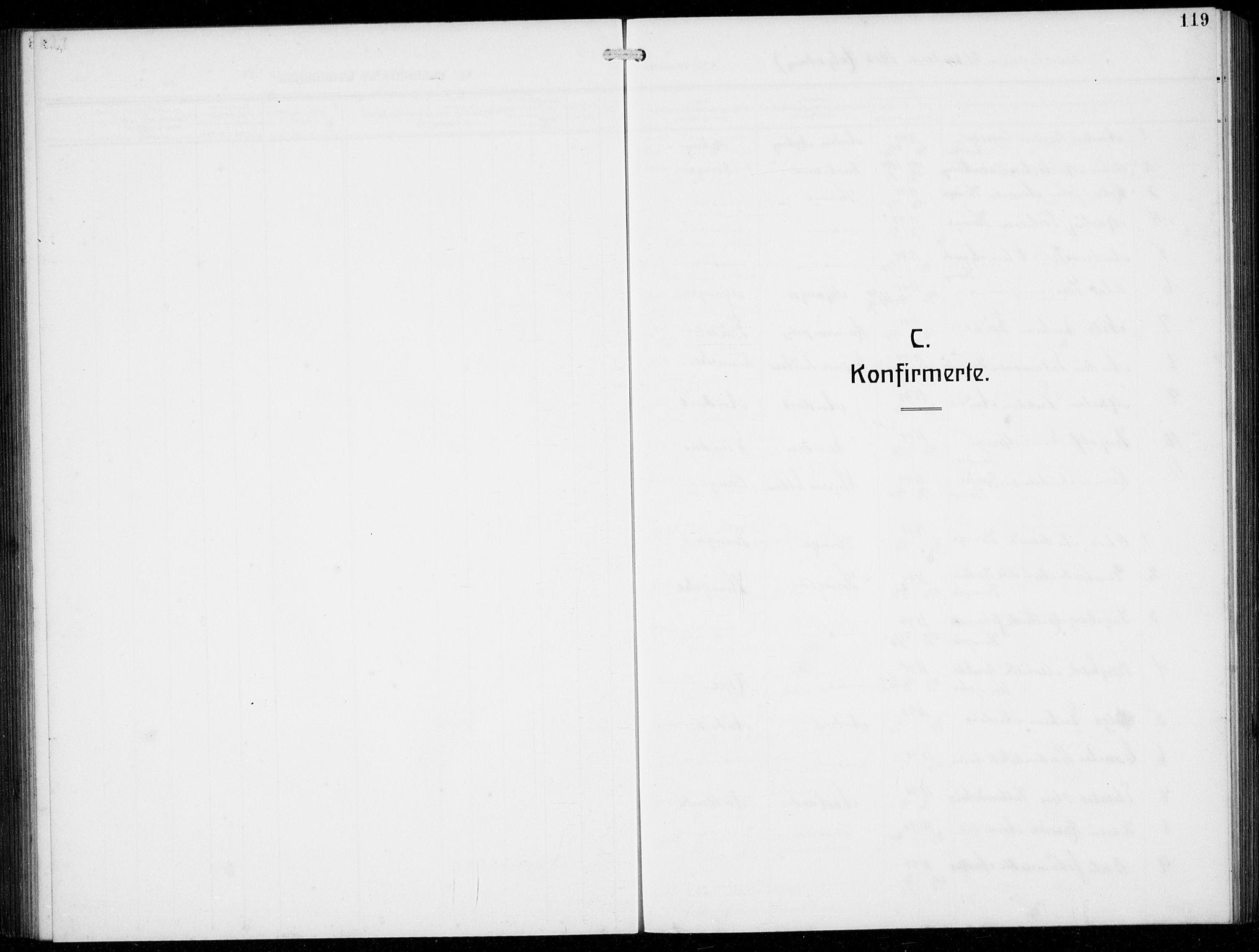 SAB, Masfjorden Soknepresembete, Klokkerbok nr. B  2, 1912-1939, s. 119