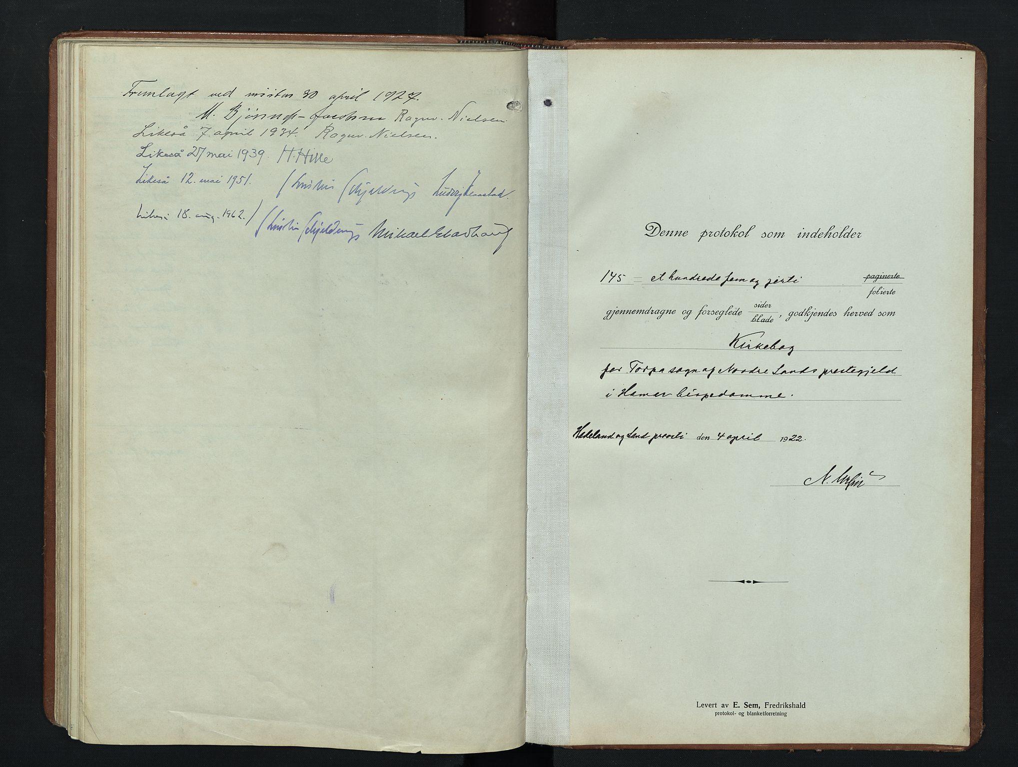 SAH, Nordre Land prestekontor, Klokkerbok nr. 9, 1921-1956
