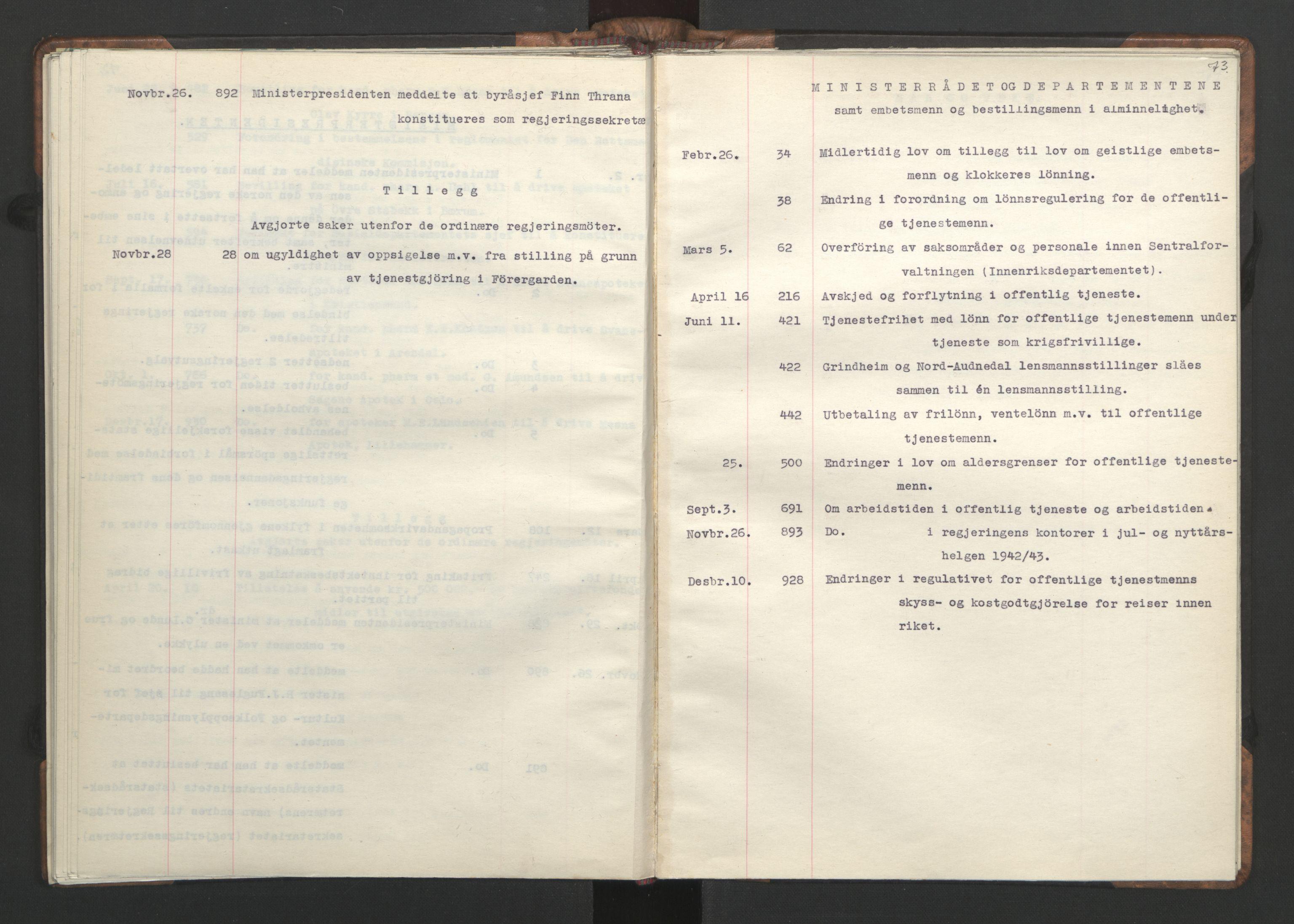 RA, NS-administrasjonen 1940-1945 (Statsrådsekretariatet, de kommisariske statsråder mm), D/Da/L0002: Register (RA j.nr. 985/1943, tilgangsnr. 17/1943), 1942, s. 72b-73a