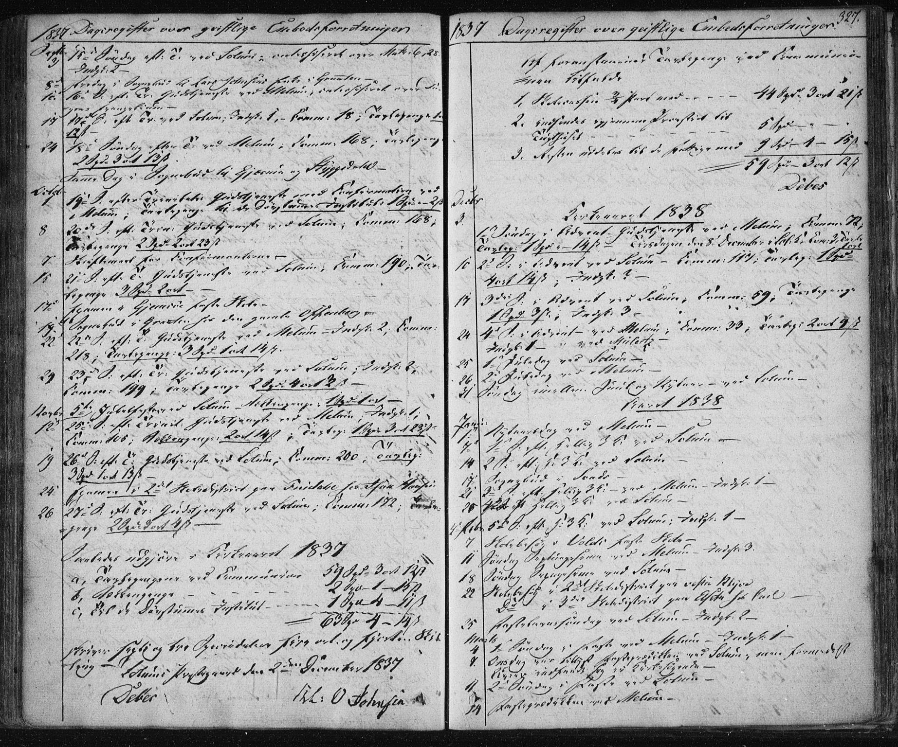 SAKO, Solum kirkebøker, F/Fa/L0005: Ministerialbok nr. I 5, 1833-1843, s. 327