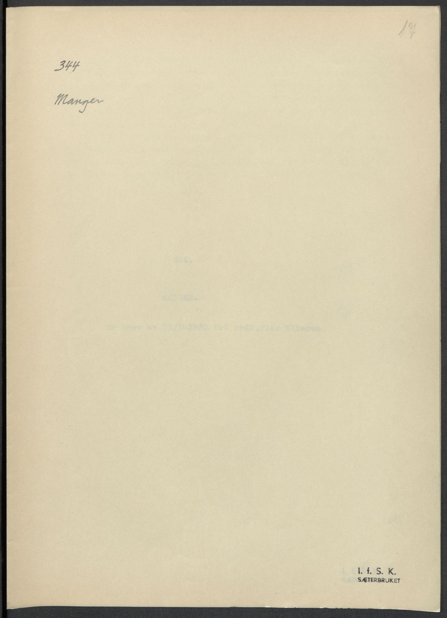 RA, Instituttet for sammenlignende kulturforskning, F/Fc/L0010: Eske B10:, 1932-1935, s. 17