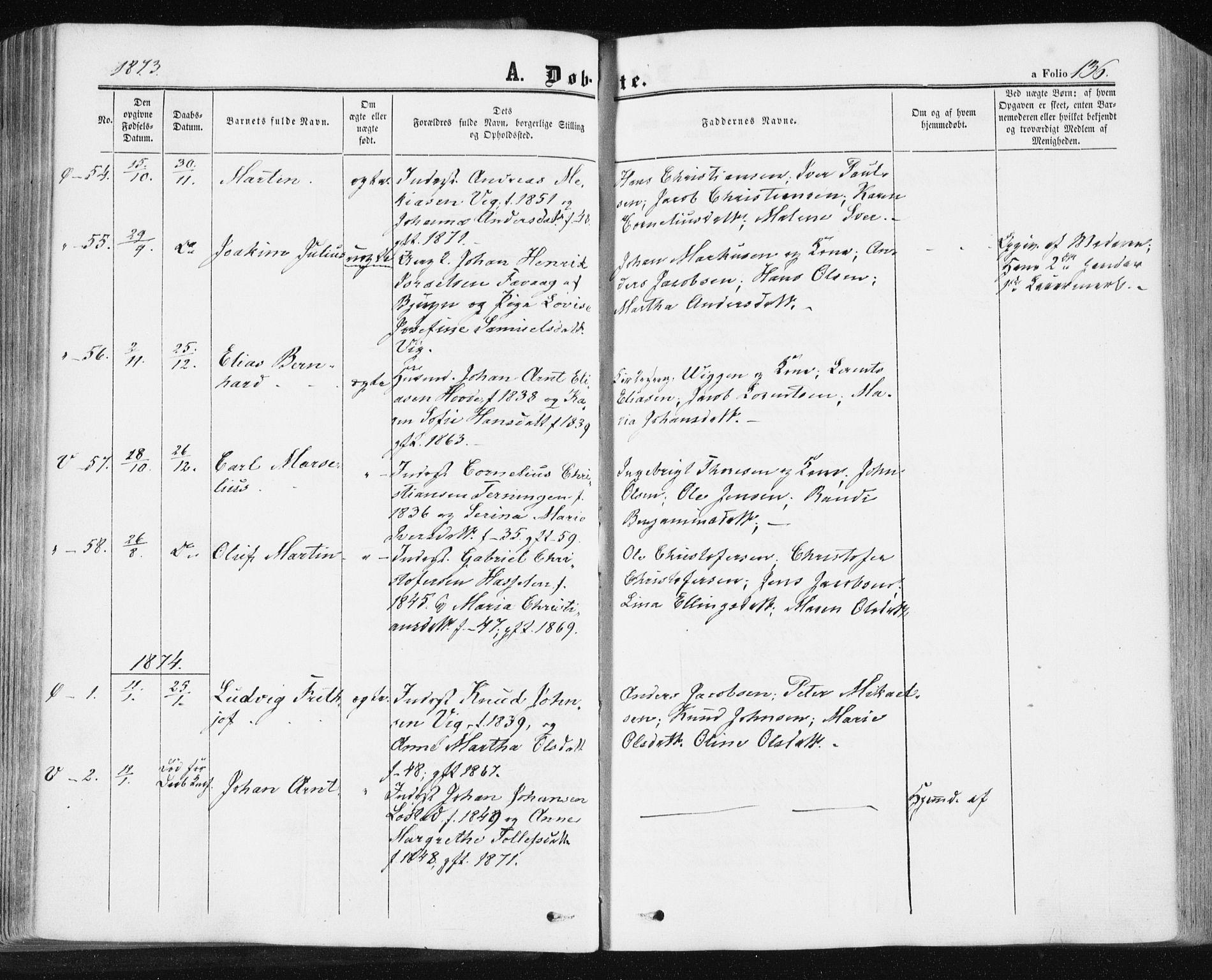 SAT, Ministerialprotokoller, klokkerbøker og fødselsregistre - Sør-Trøndelag, 659/L0737: Ministerialbok nr. 659A07, 1857-1875, s. 136
