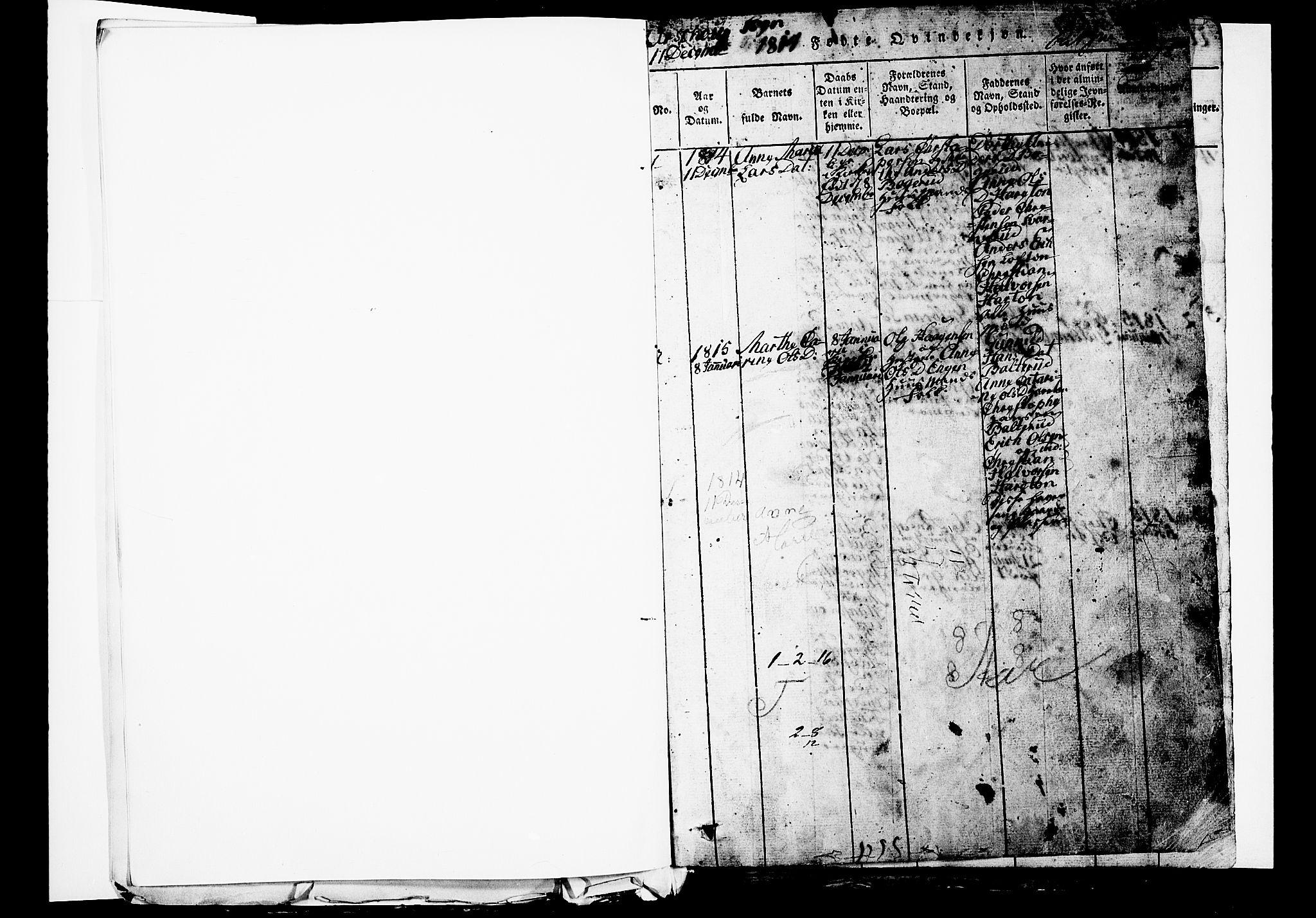 SAO, Aurskog prestekontor Kirkebøker, G/Ga/L0001: Klokkerbok nr. I 1, 1814-1829, s. 1
