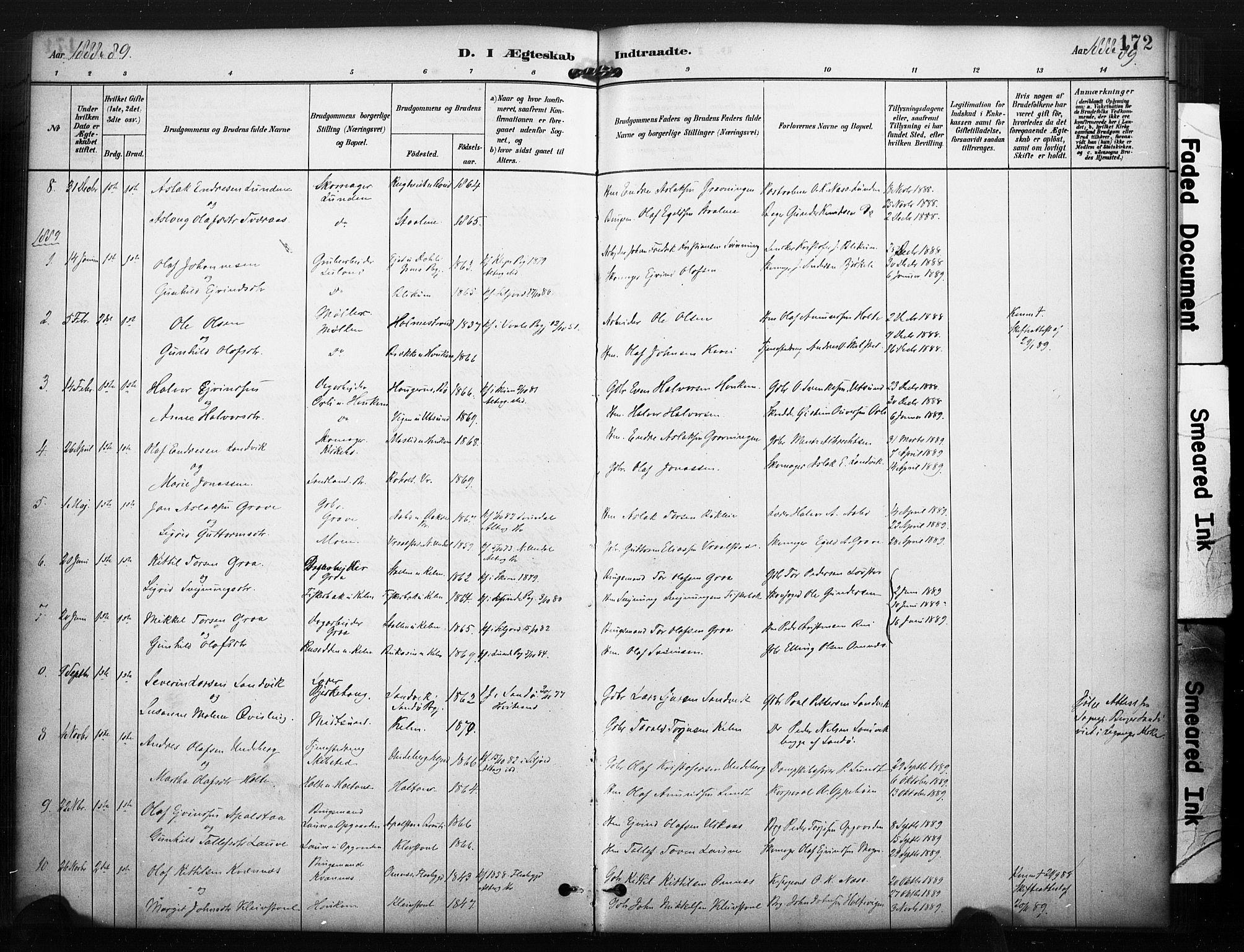 SAKO, Kviteseid kirkebøker, F/Fa/L0008: Ministerialbok nr. I 8, 1882-1903, s. 172