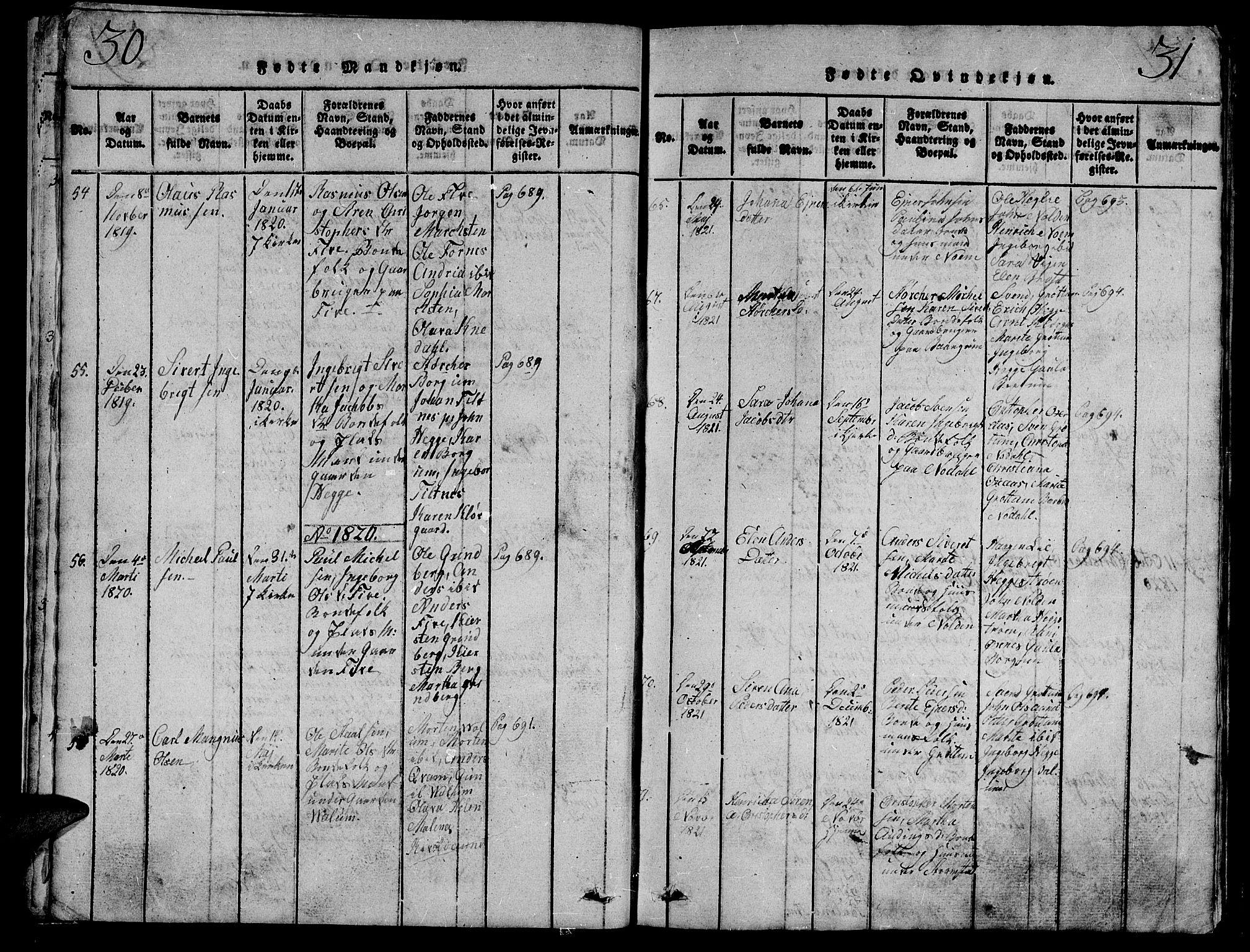 SAT, Ministerialprotokoller, klokkerbøker og fødselsregistre - Nord-Trøndelag, 747/L0459: Klokkerbok nr. 747C01, 1816-1842, s. 30-31